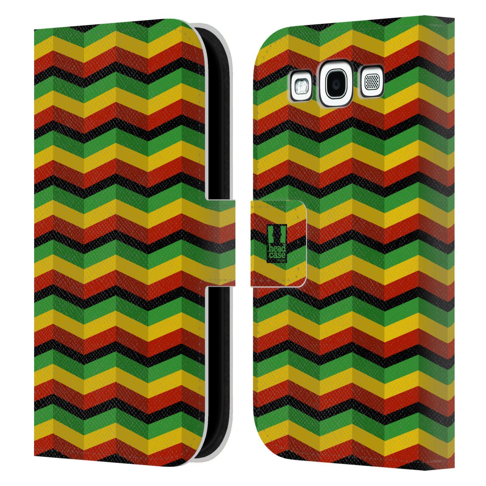 HEAD CASE Flipové pouzdro pro mobil Samsung Galaxy S3 Rastafariánský motiv Jamajka CHEVRON