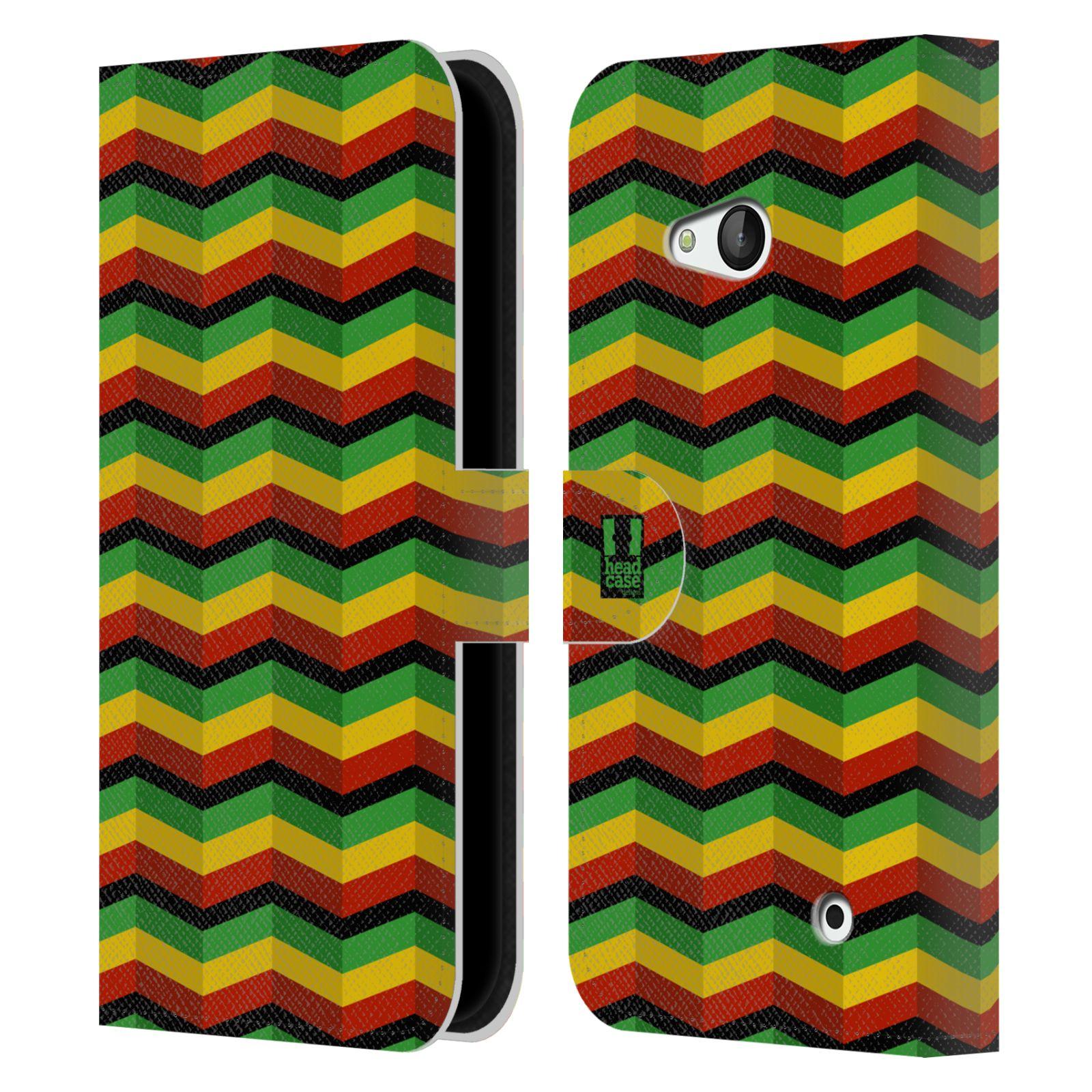 HEAD CASE Flipové pouzdro pro mobil NOKIA / MICROSOFT LUMIA 640 / LUMIA 640 DUAL Rastafariánský motiv Jamajka CHEVRON