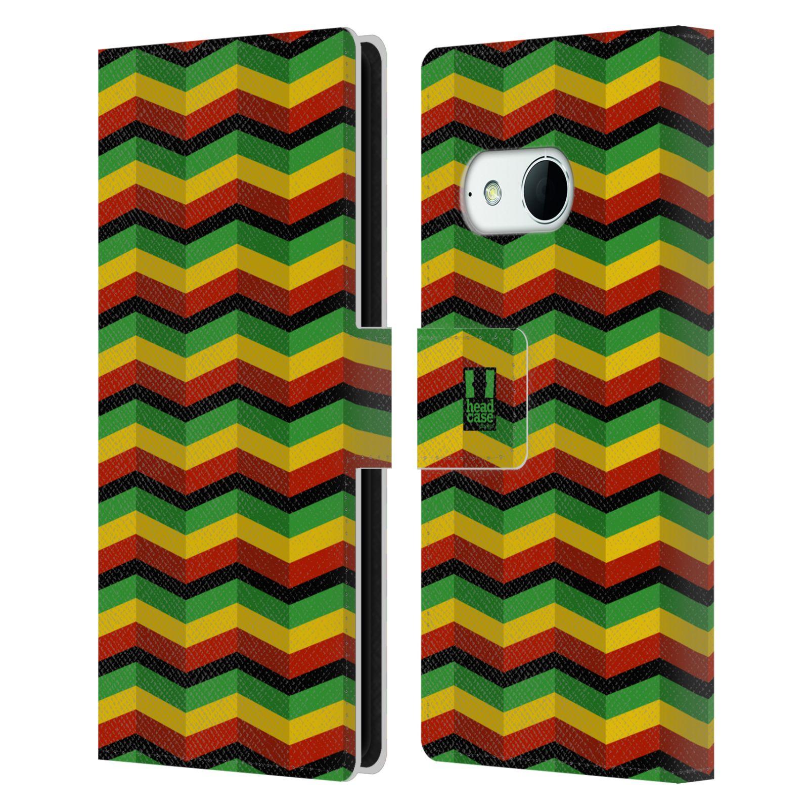 HEAD CASE Flipové pouzdro pro mobil HTC ONE MINI 2 (M8) Rastafariánský motiv Jamajka CHEVRON