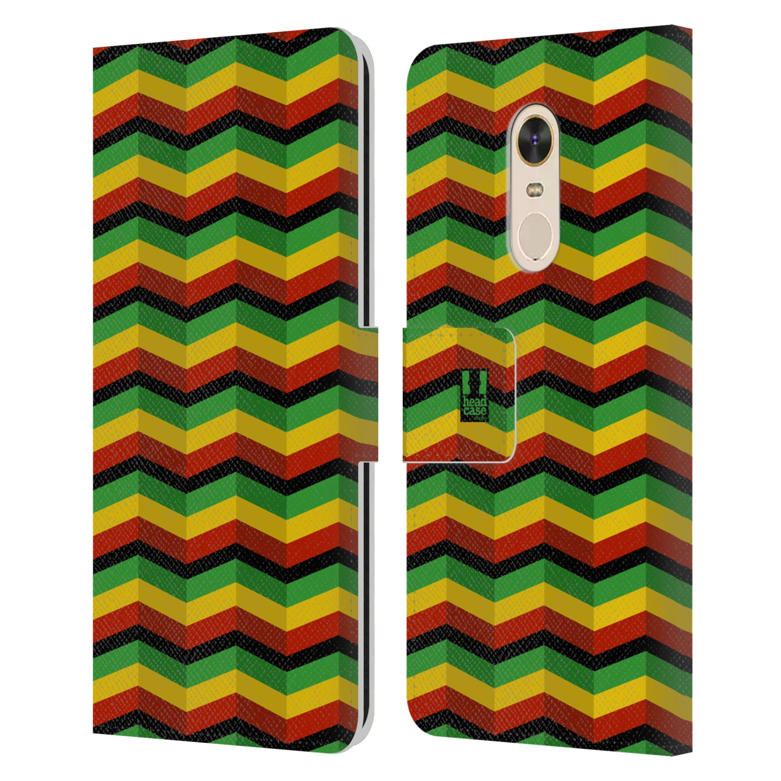 HEAD CASE Flipové pouzdro pro mobil Xiaomi Redmi Note 5 Rastafariánský motiv Jamajka CHEVRON