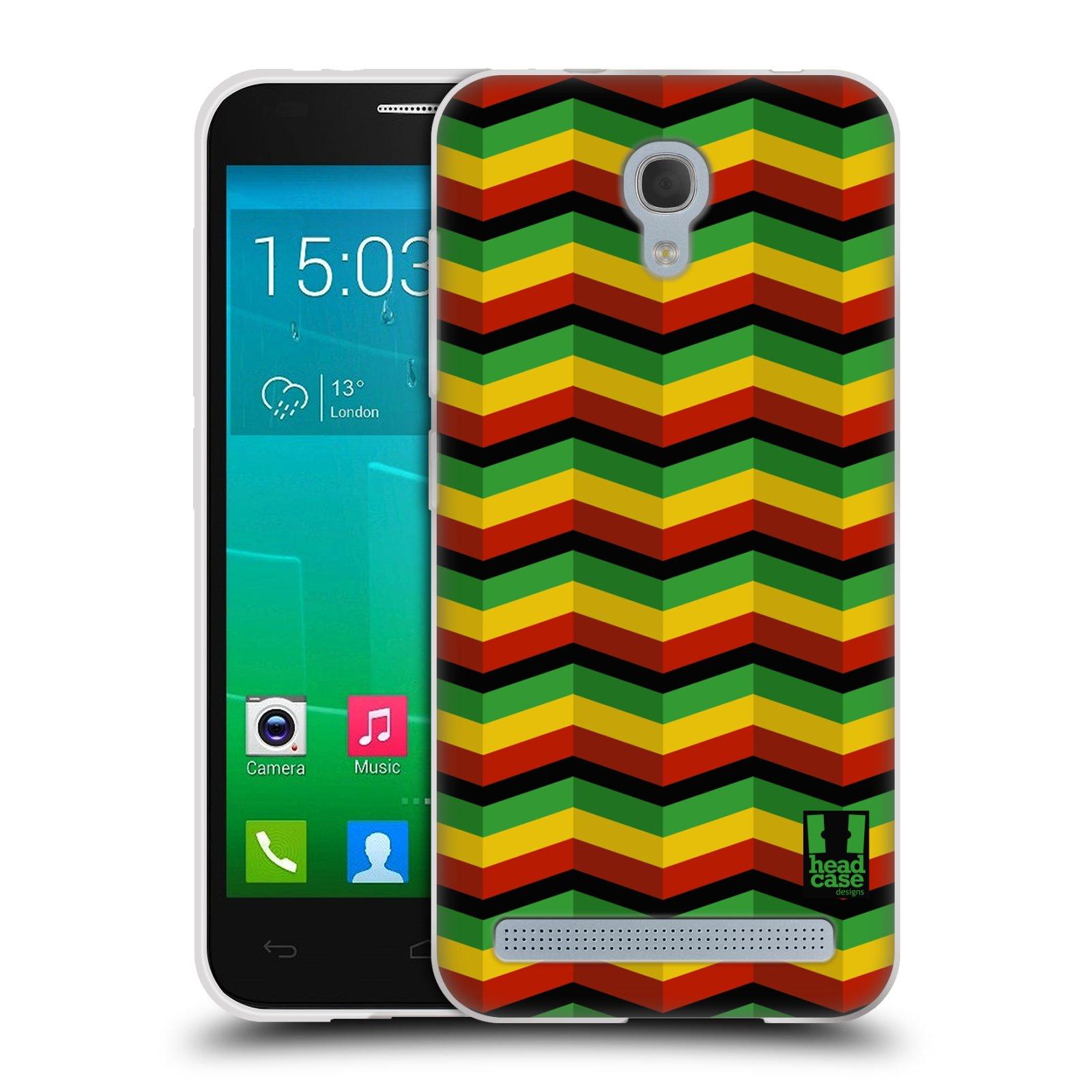 HEAD CASE silikonový obal na mobil Alcatel Idol 2 MINI S 6036Y vzor Rasta barevné vzory CHEVRON