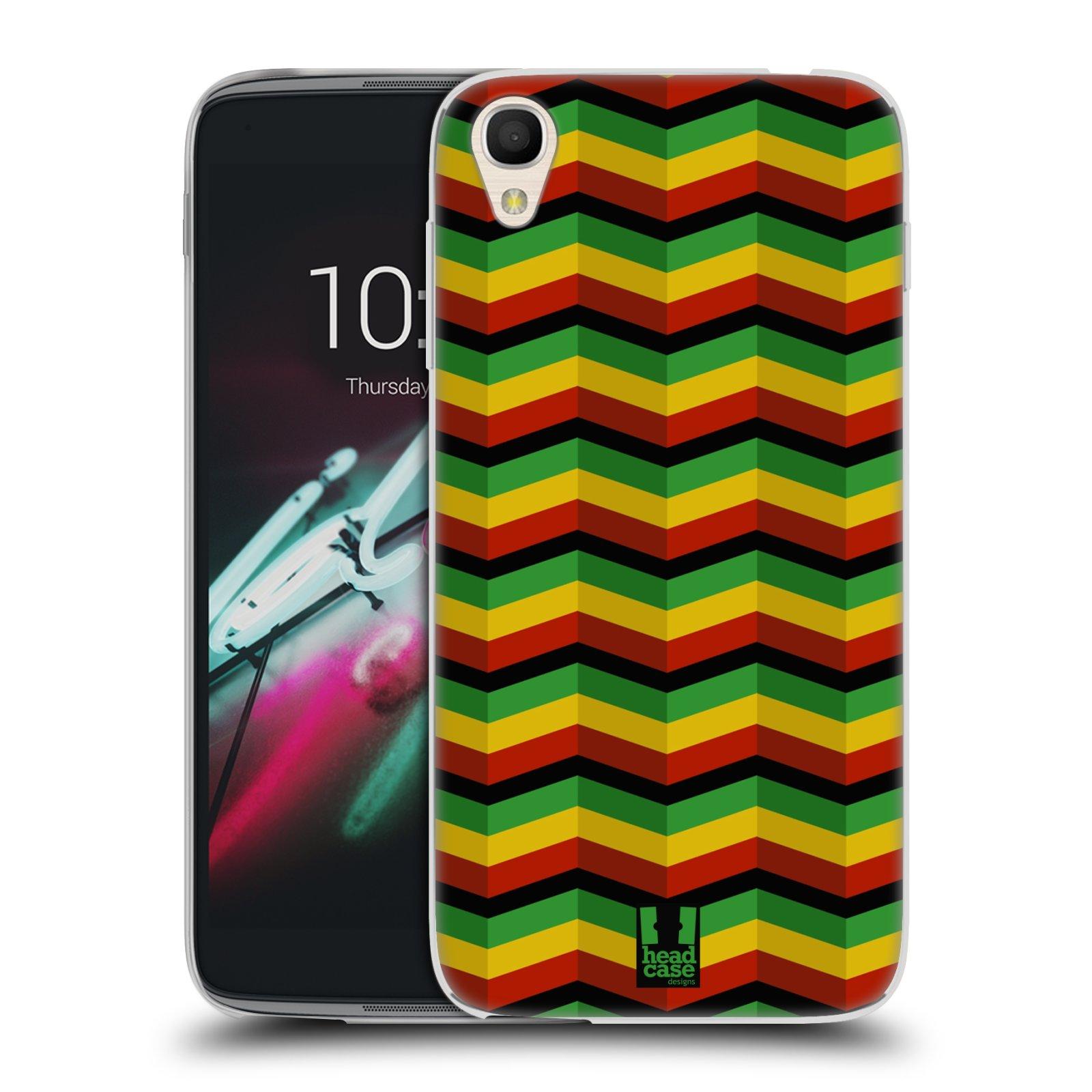 HEAD CASE silikonový obal na mobil Alcatel Idol 3 OT-6039Y (4.7) vzor Rasta barevné vzory CHEVRON