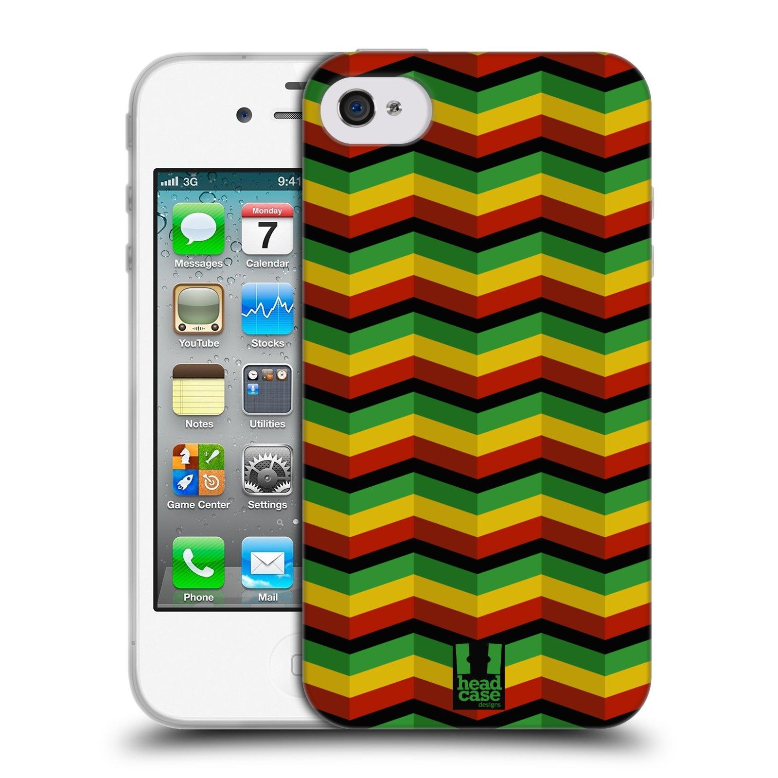 HEAD CASE silikonový obal na mobil Apple Iphone 4/4S vzor Rasta barevné vzory CHEVRON