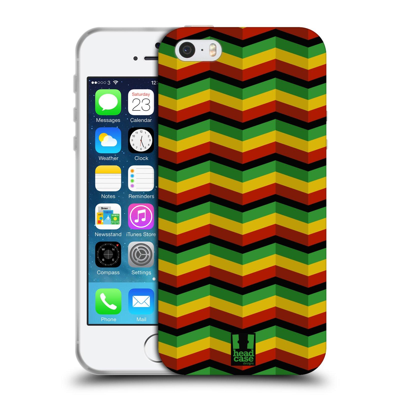 HEAD CASE silikonový obal na mobil Apple Iphone 5/5S vzor Rasta barevné vzory CHEVRON