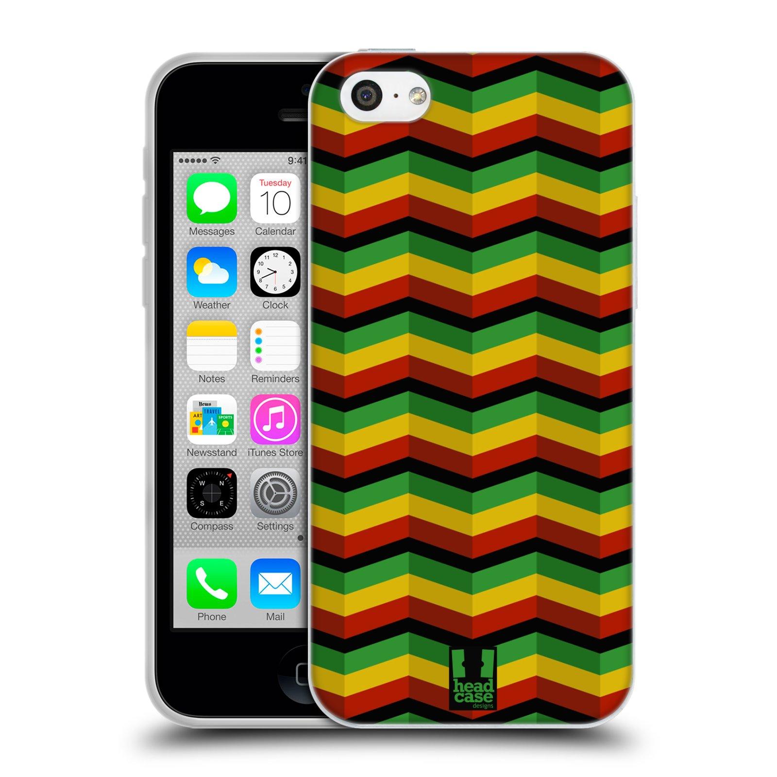 HEAD CASE silikonový obal na mobil Apple Iphone 5C vzor Rasta barevné vzory CHEVRON