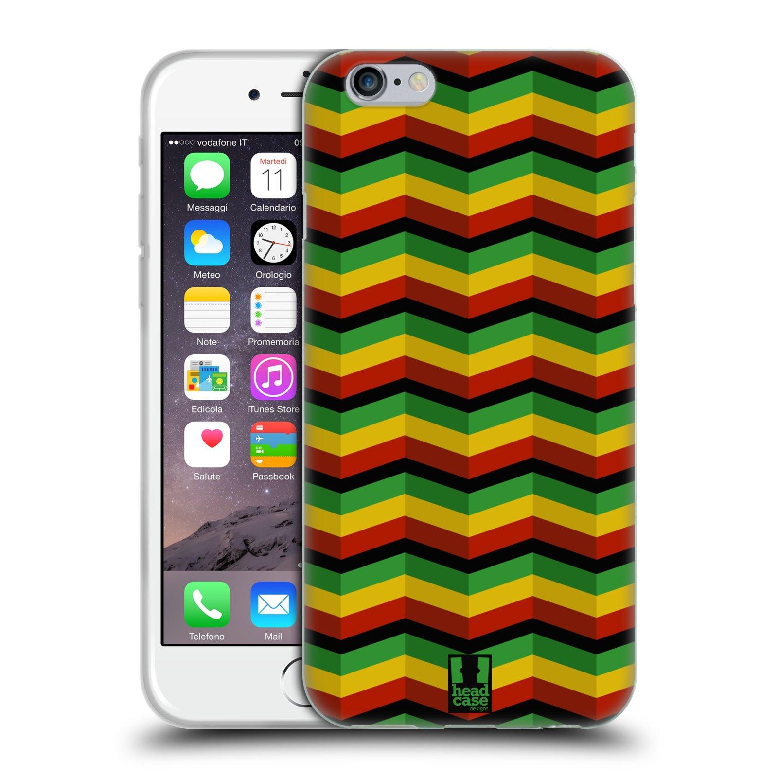 HEAD CASE silikonový obal na mobil Apple Iphone 6/6S vzor Rasta barevné vzory CHEVRON