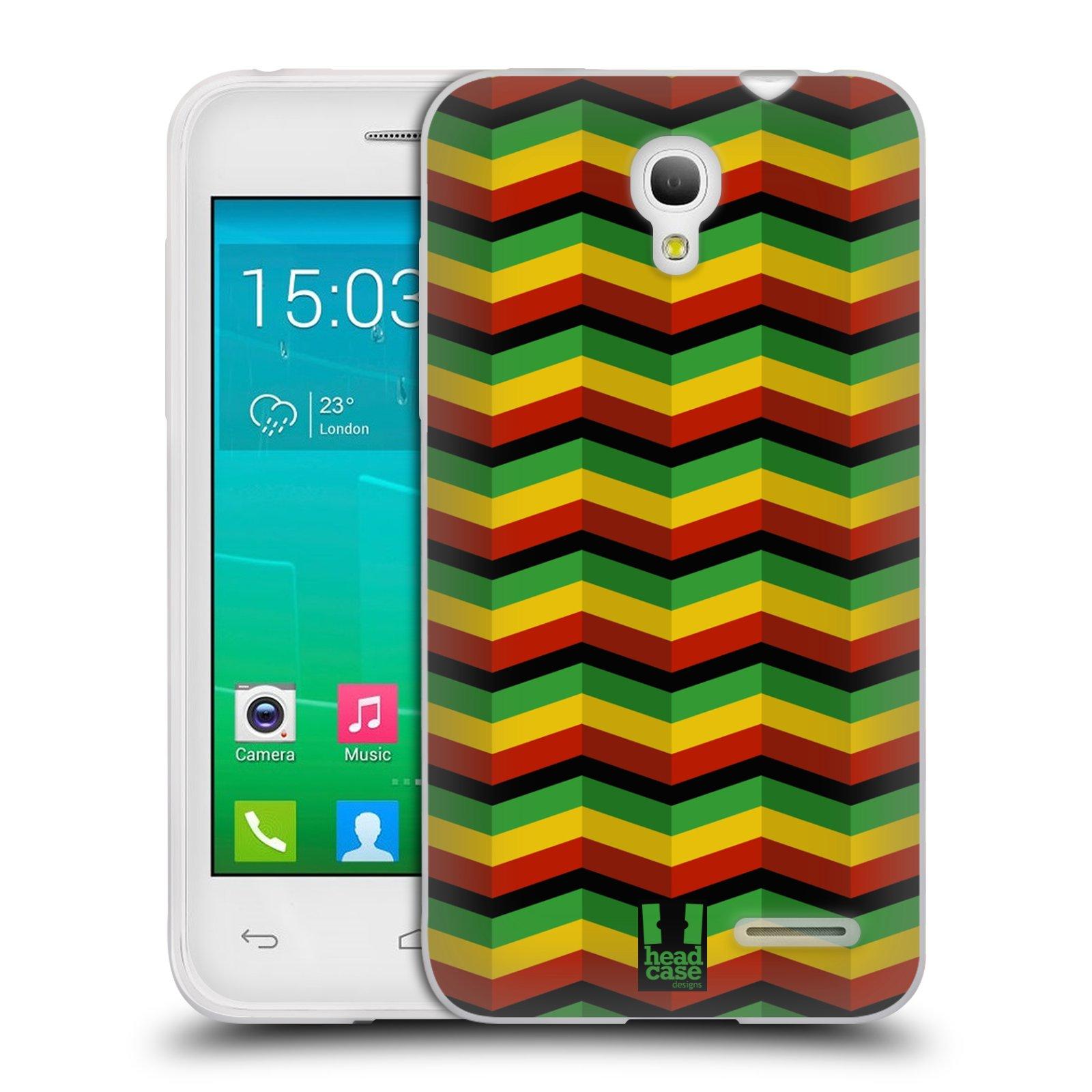 HEAD CASE silikonový obal na mobil Alcatel POP S3 OT-5050Y vzor Rasta barevné vzory CHEVRON