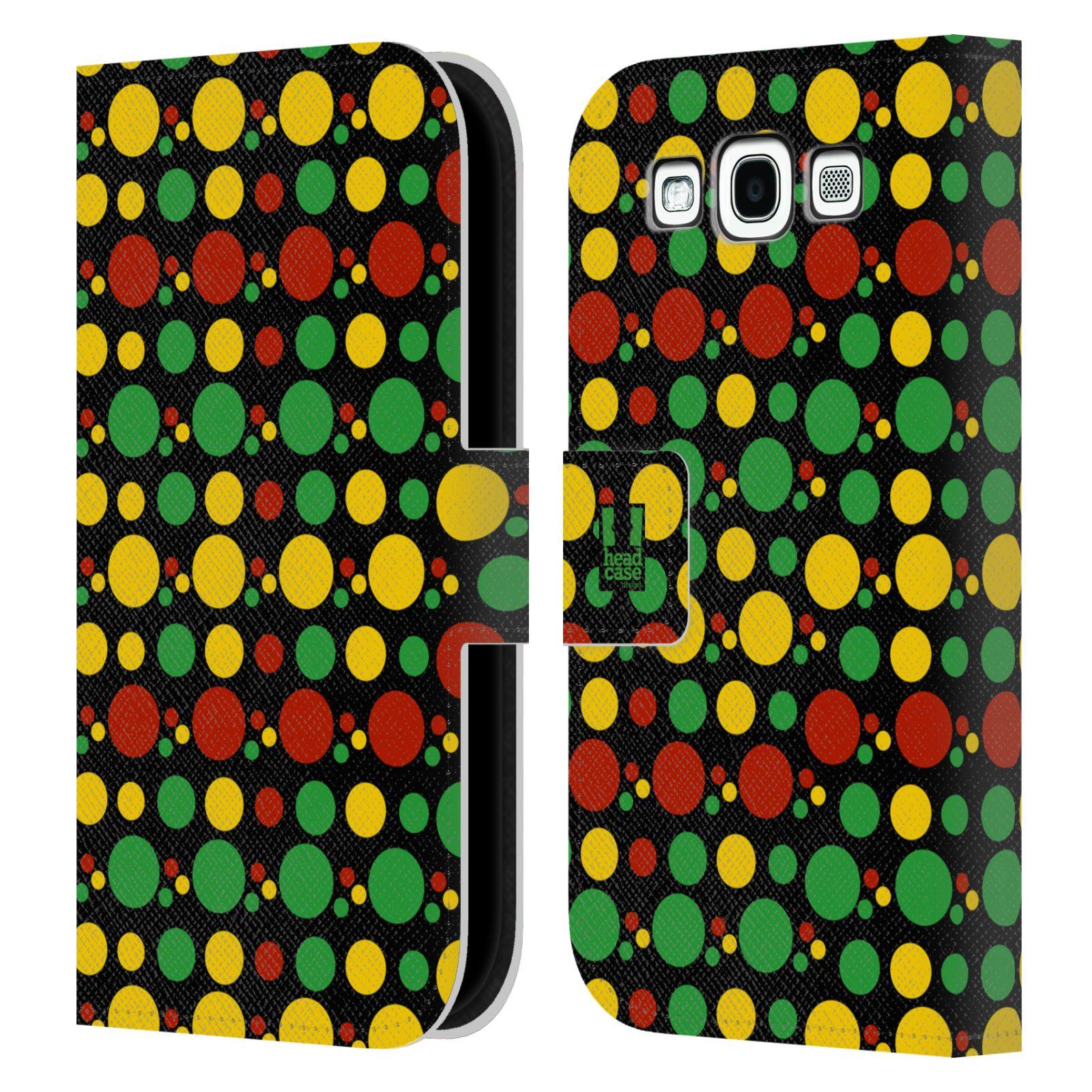 HEAD CASE Flipové pouzdro pro mobil Samsung Galaxy S3 Rastafariánský motiv Jamajka puntíky