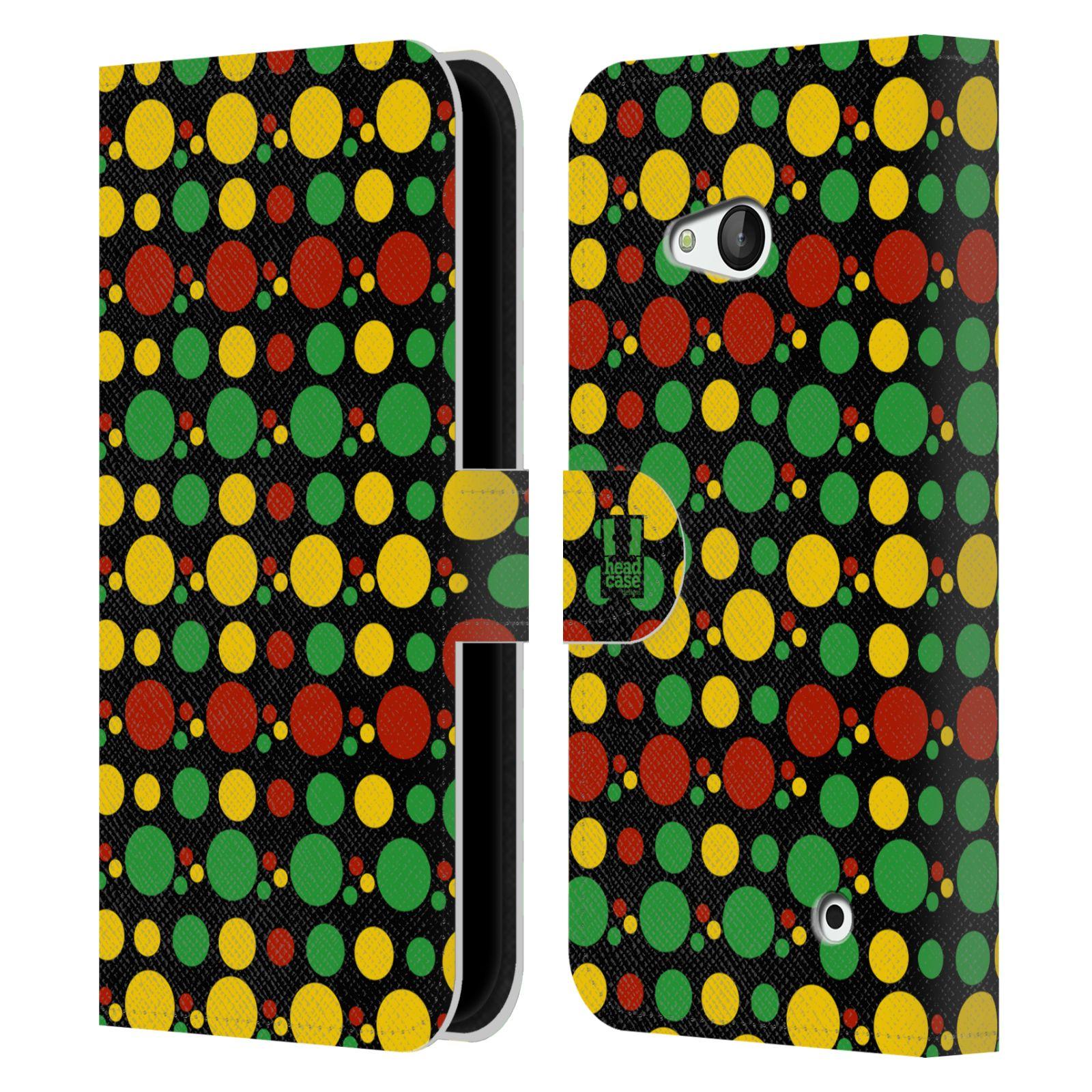HEAD CASE Flipové pouzdro pro mobil NOKIA / MICROSOFT LUMIA 640 / LUMIA 640 DUAL Rastafariánský motiv Jamajka puntíky