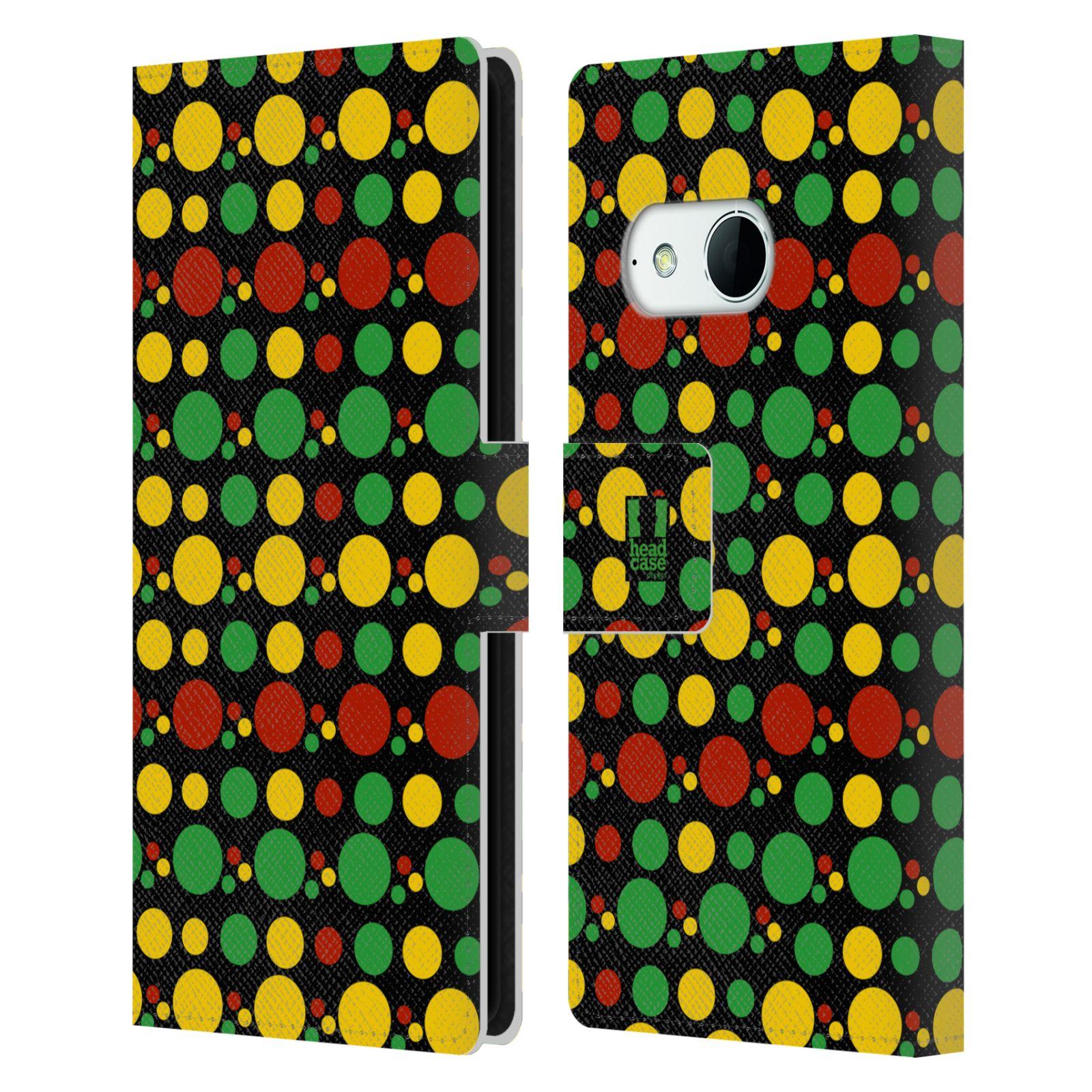 HEAD CASE Flipové pouzdro pro mobil HTC ONE MINI 2 (M8) Rastafariánský motiv Jamajka puntíky