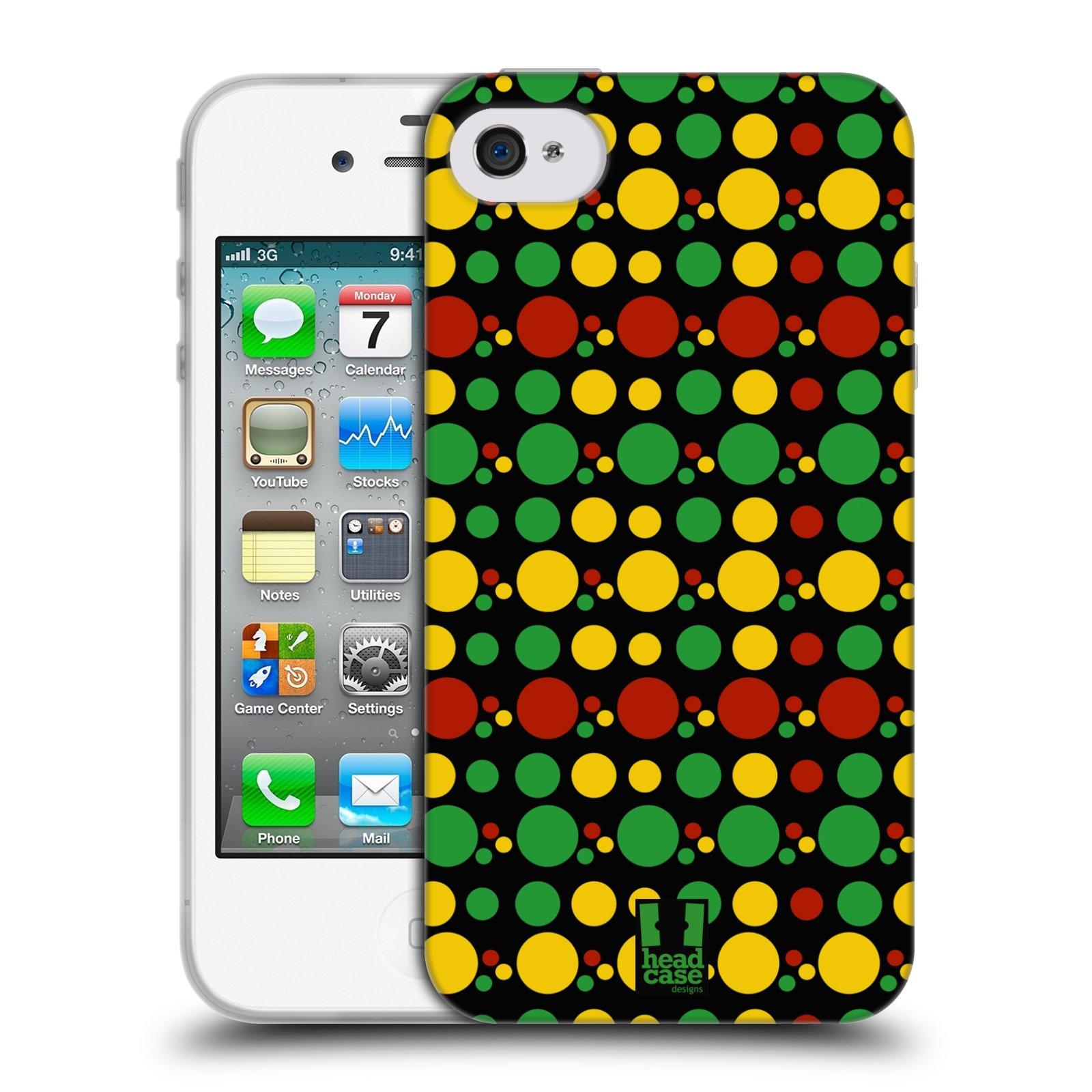 HEAD CASE silikonový obal na mobil Apple Iphone 4/4S vzor Rasta barevné vzory KRUHY