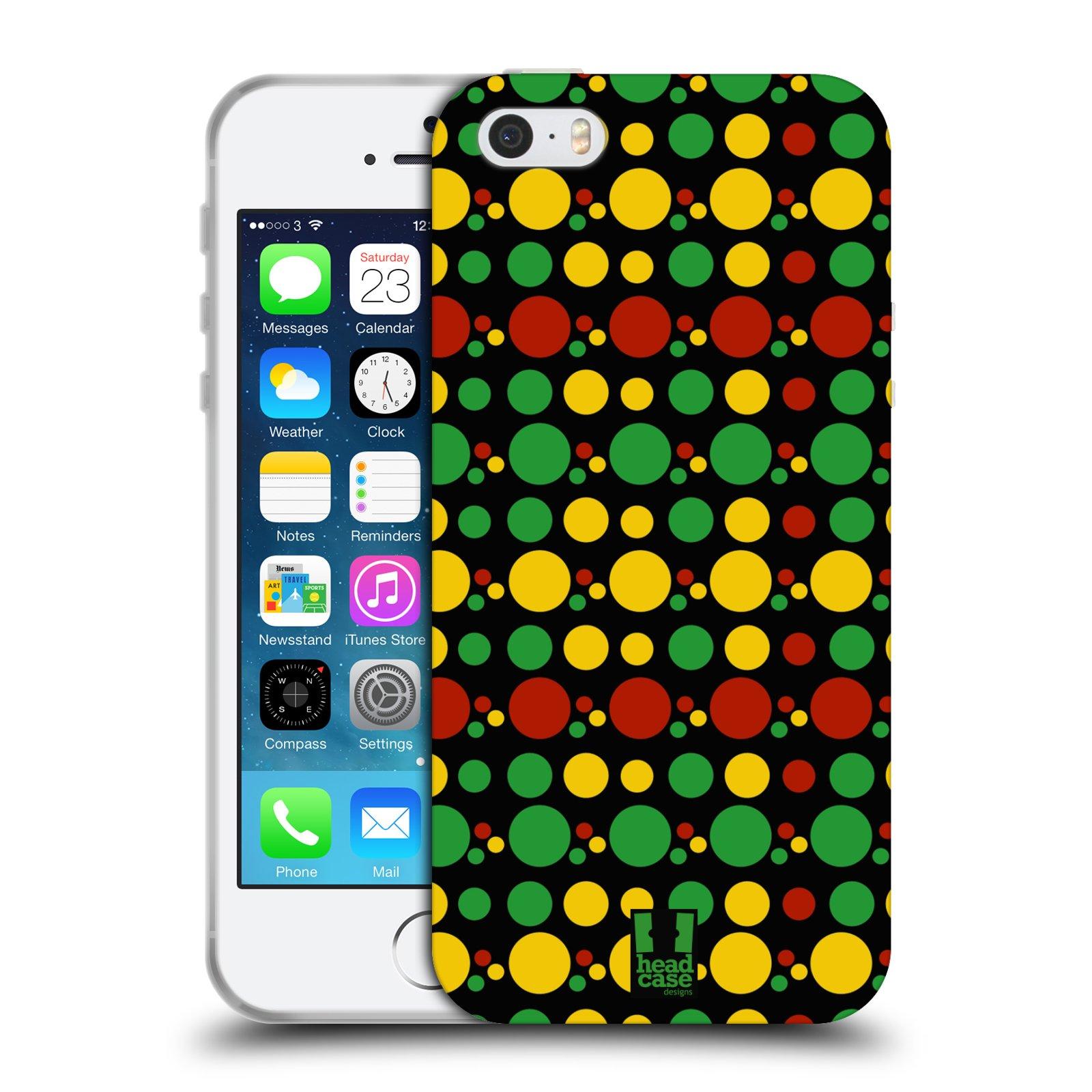 HEAD CASE silikonový obal na mobil Apple Iphone 5/5S vzor Rasta barevné vzory KRUHY