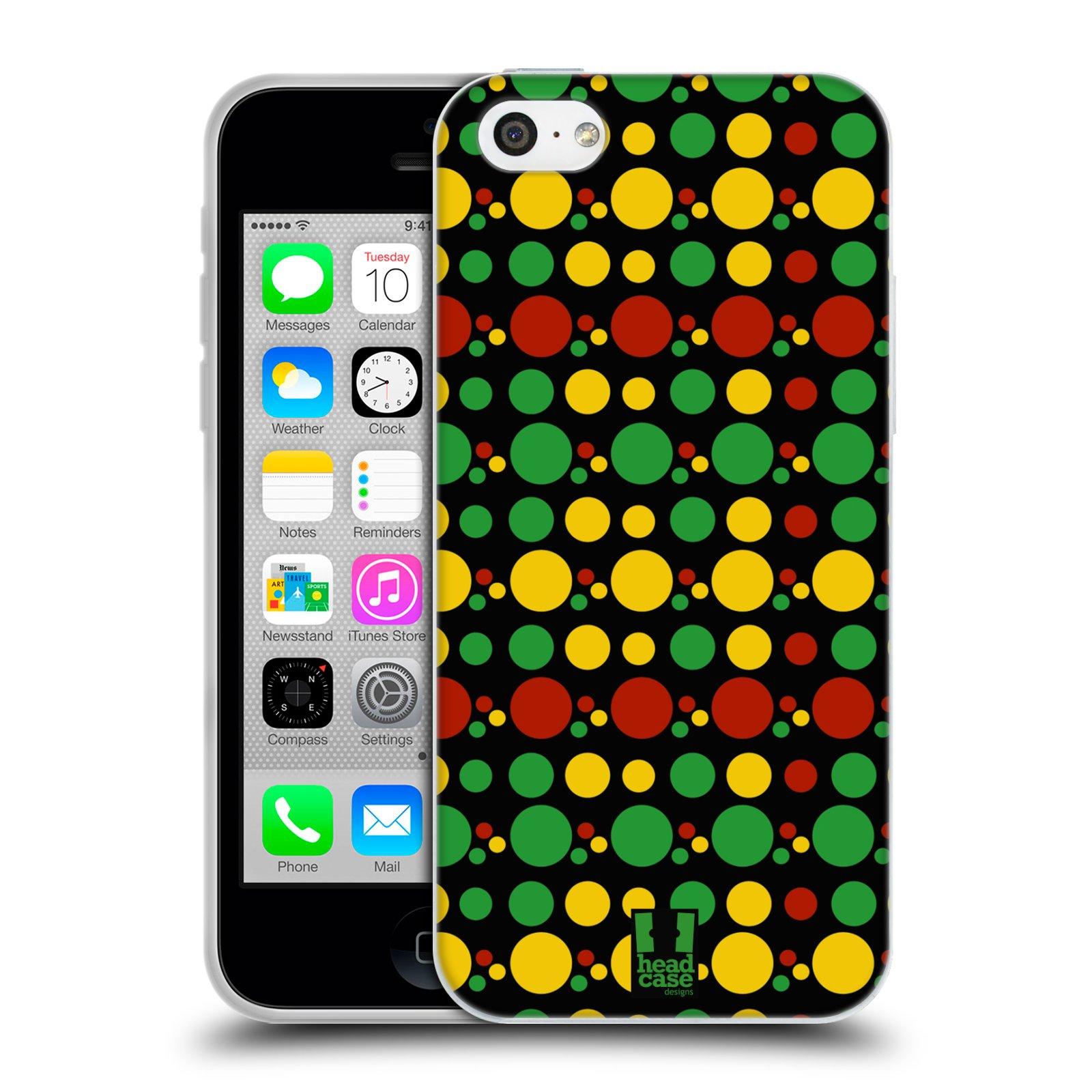 HEAD CASE silikonový obal na mobil Apple Iphone 5C vzor Rasta barevné vzory KRUHY