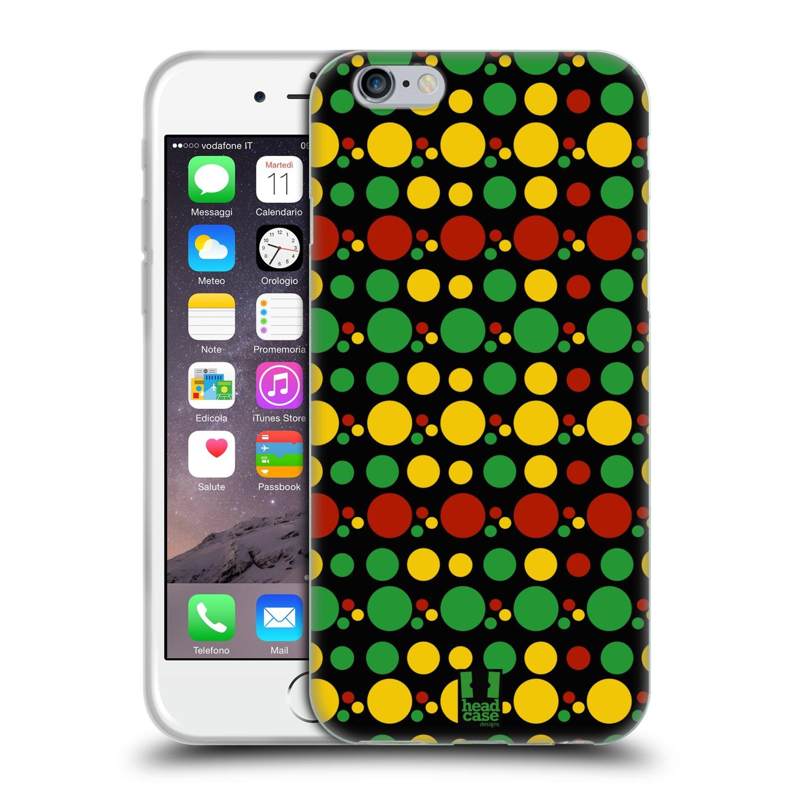 HEAD CASE silikonový obal na mobil Apple Iphone 6/6S vzor Rasta barevné vzory KRUHY