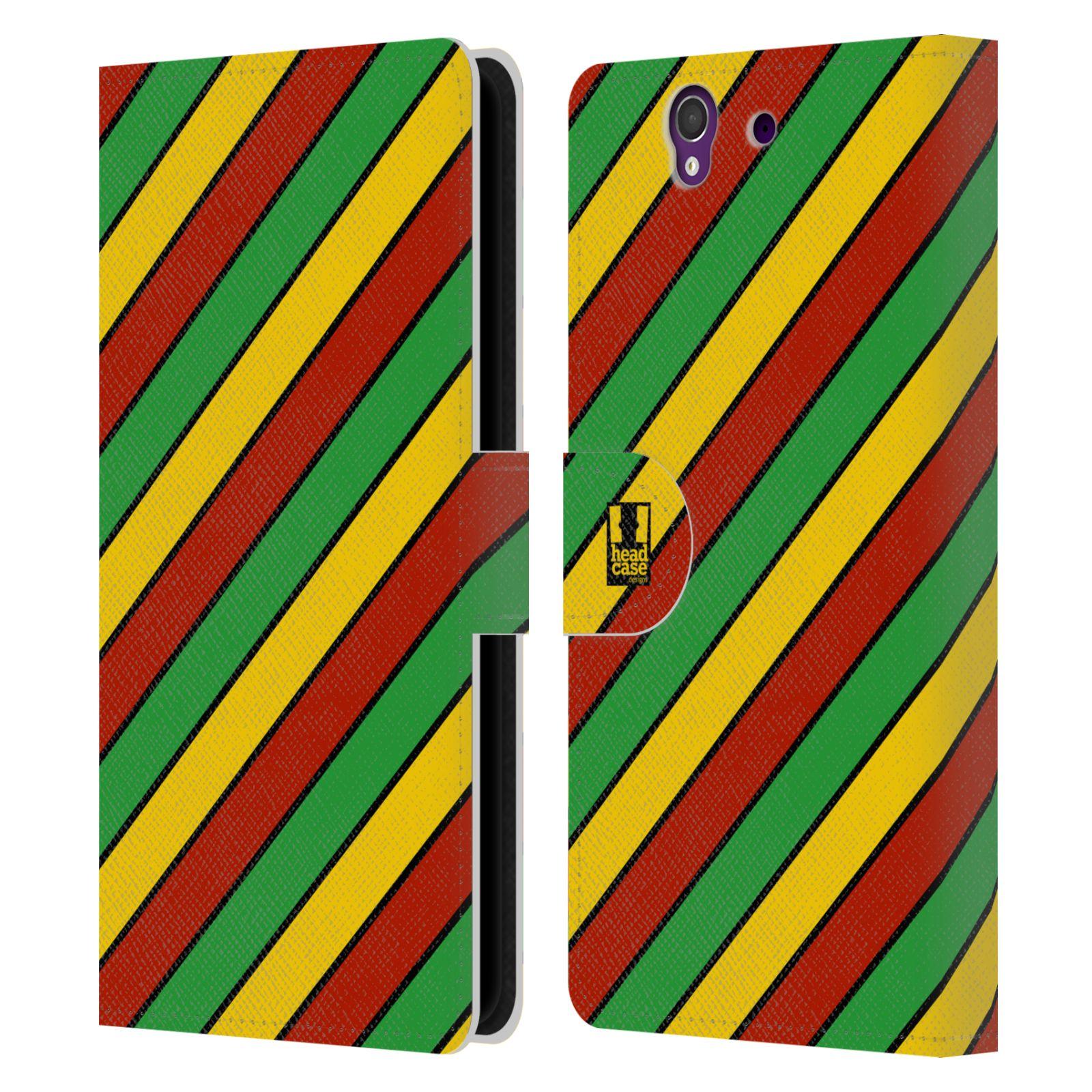 HEAD CASE Flipové pouzdro pro mobil SONY XPERIA Z (C6603) Rastafariánský motiv Jamajka diagonální pruhy
