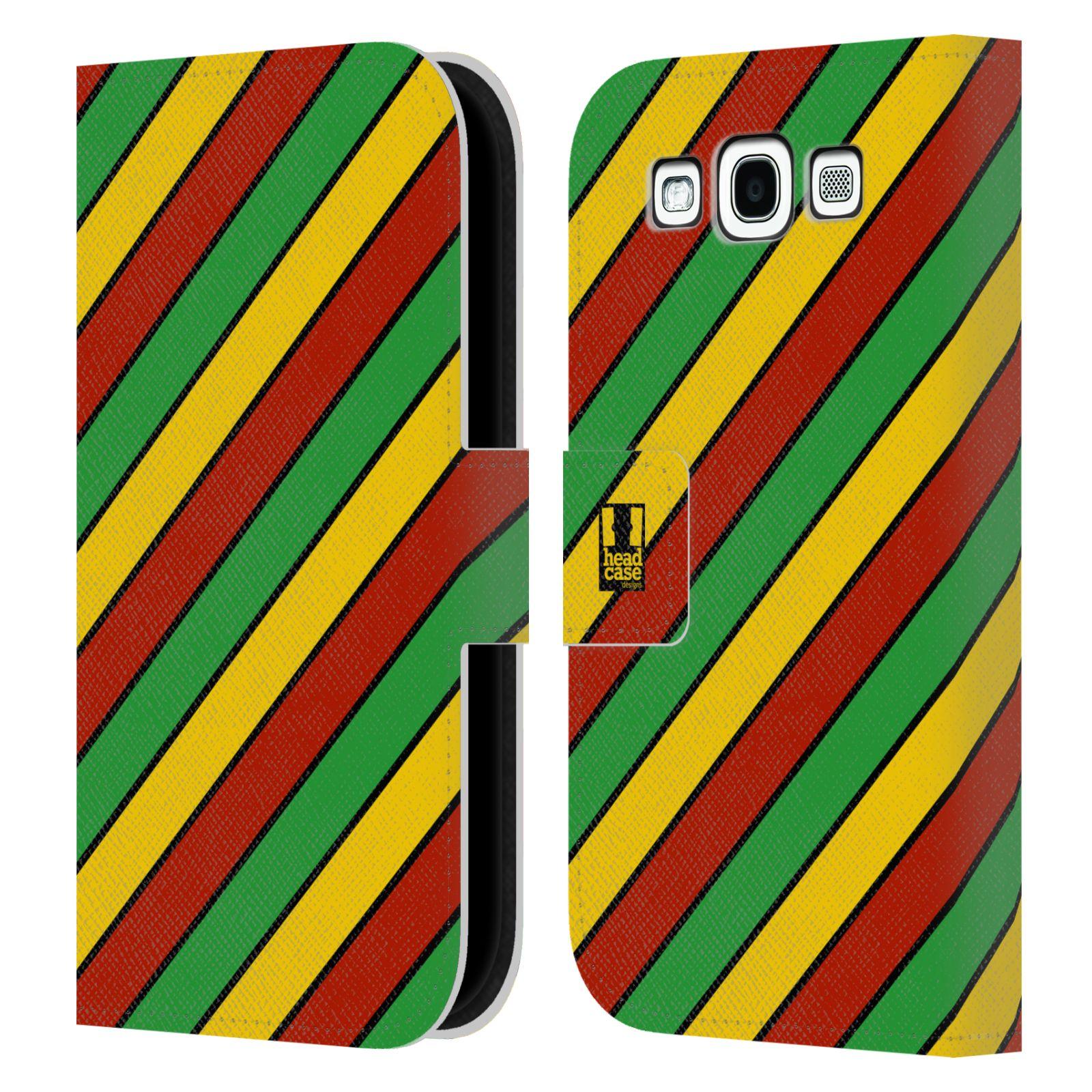 HEAD CASE Flipové pouzdro pro mobil Samsung Galaxy S3 Rastafariánský motiv Jamajka diagonální pruhy