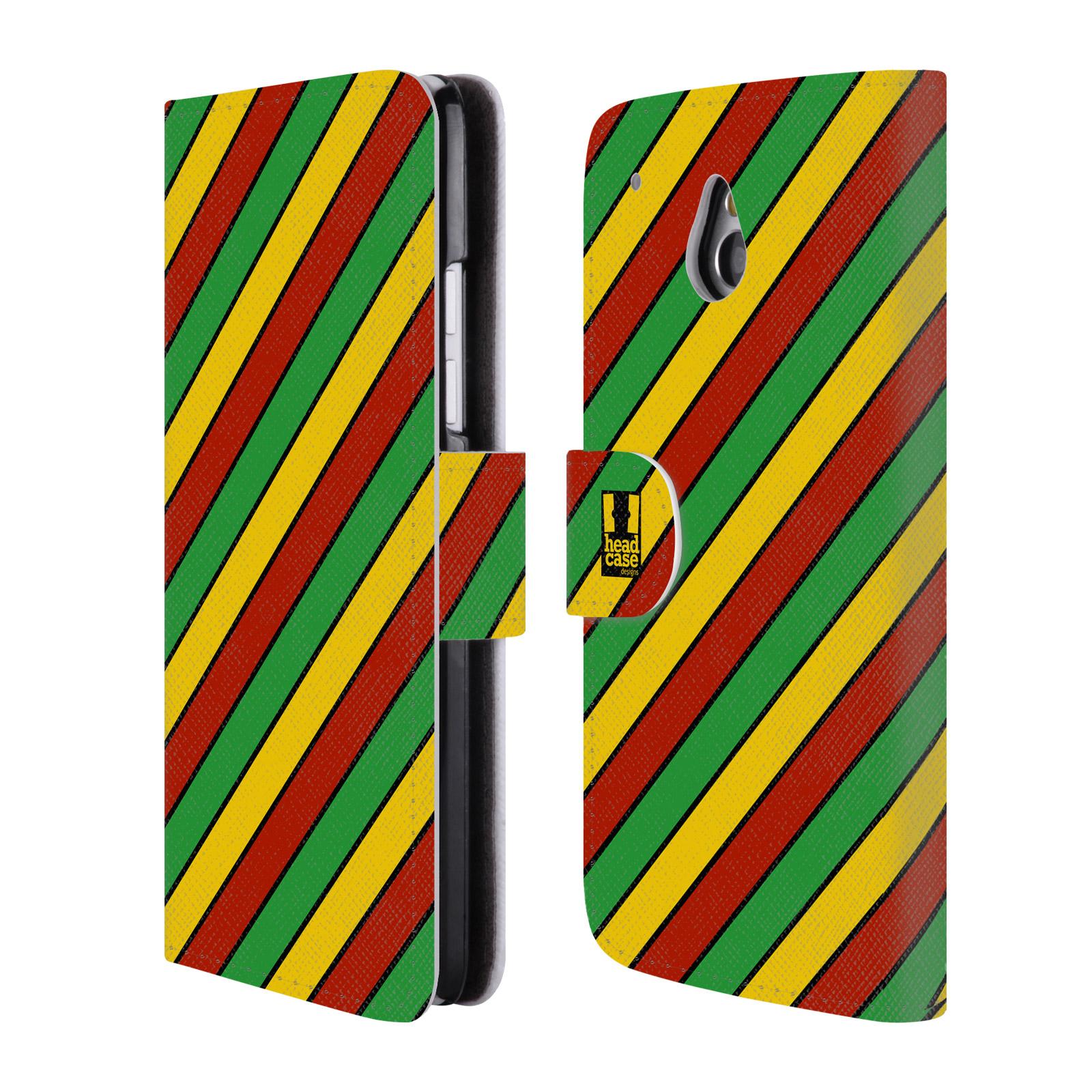 HEAD CASE Flipové pouzdro pro mobil HTC ONE MINI (M4) Rastafariánský motiv Jamajka diagonální pruhy