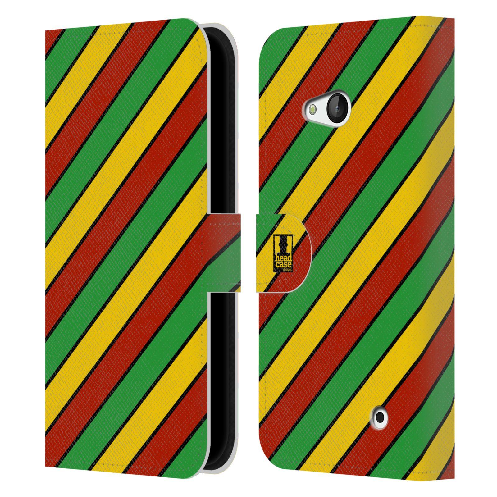 HEAD CASE Flipové pouzdro pro mobil NOKIA / MICROSOFT LUMIA 640 / LUMIA 640 DUAL Rastafariánský motiv Jamajka diagonální pruhy