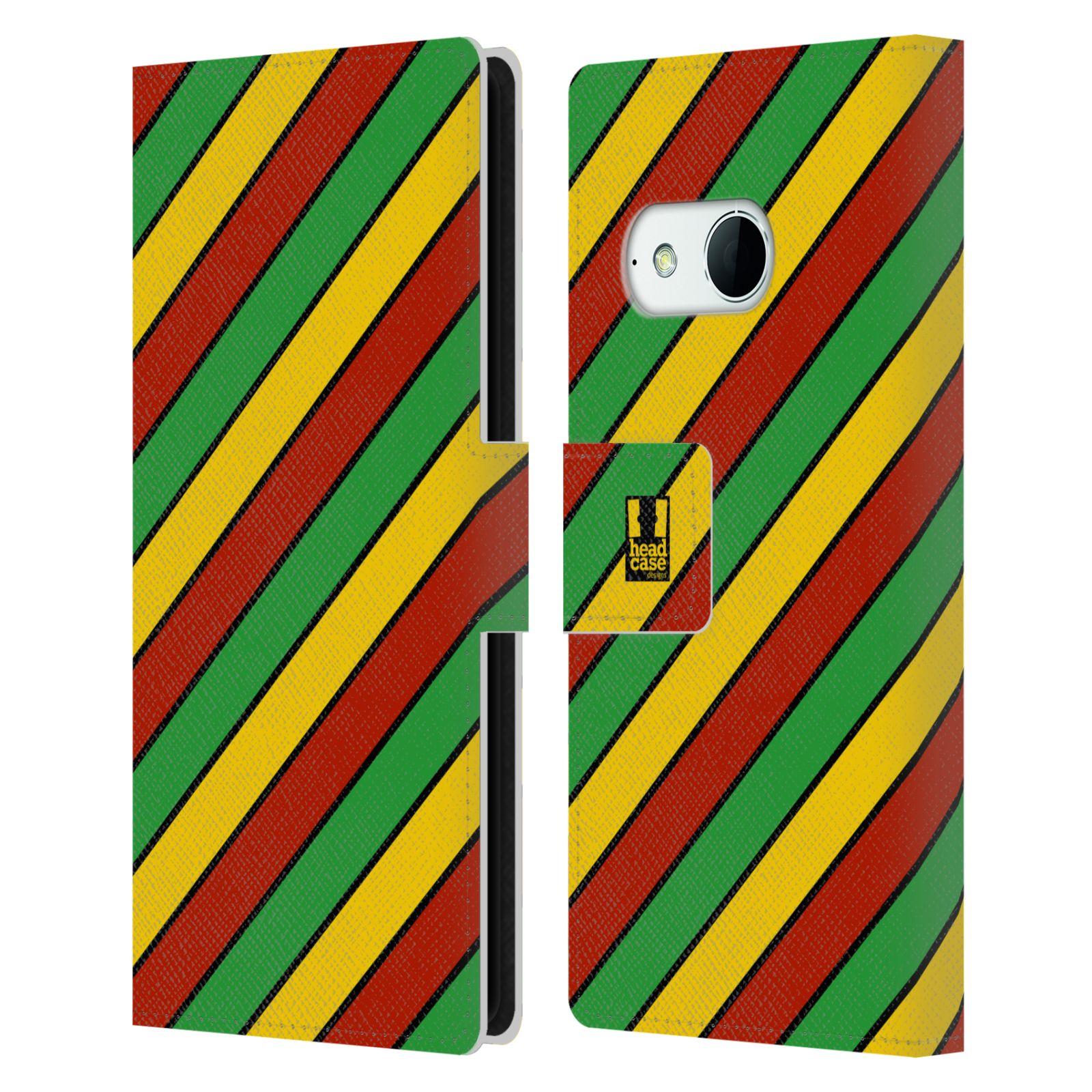 HEAD CASE Flipové pouzdro pro mobil HTC ONE MINI 2 (M8) Rastafariánský motiv Jamajka diagonální pruhy