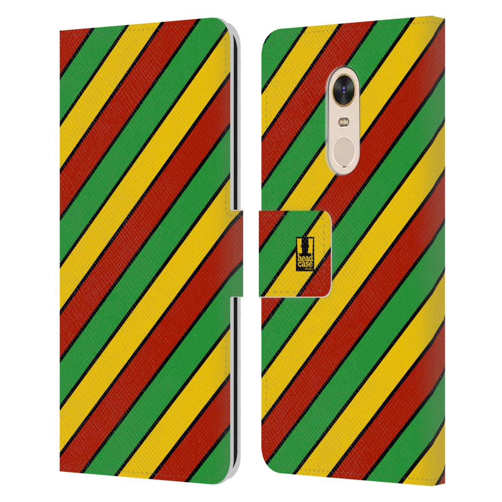 HEAD CASE Flipové pouzdro pro mobil Xiaomi Redmi Note 5 Rastafariánský motiv Jamajka diagonální pruhy