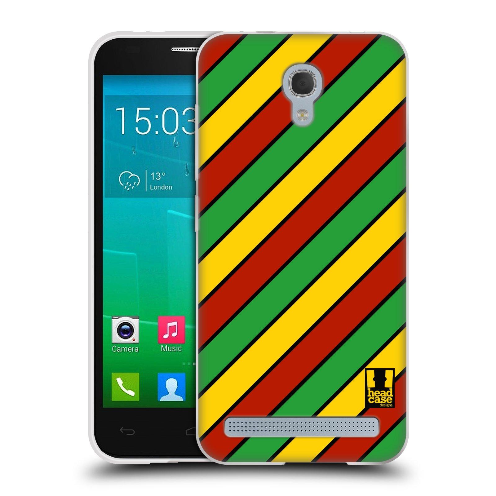 HEAD CASE silikonový obal na mobil Alcatel Idol 2 MINI S 6036Y vzor Rasta barevné vzory PRUHY
