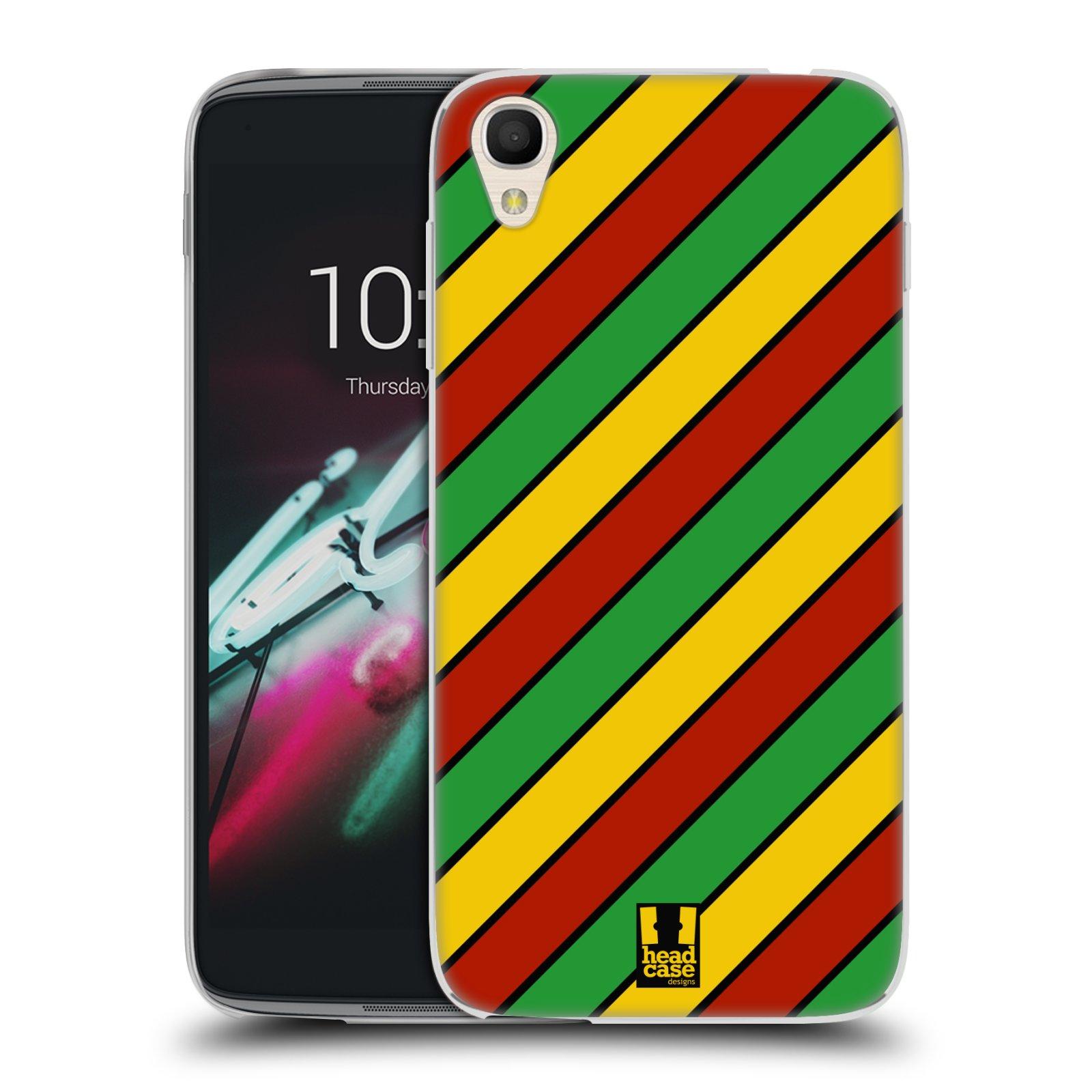 HEAD CASE silikonový obal na mobil Alcatel Idol 3 OT-6039Y (4.7) vzor Rasta barevné vzory PRUHY