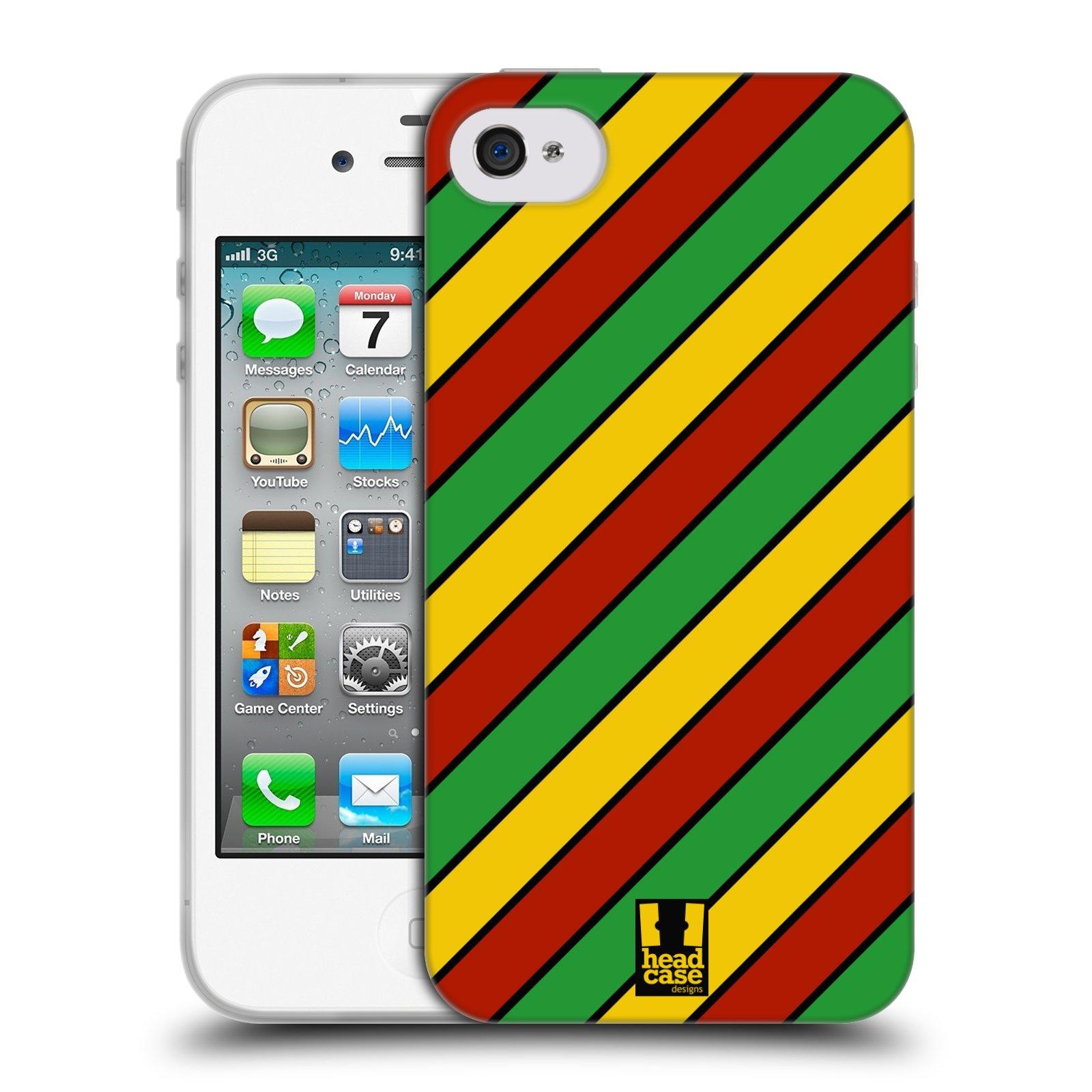 HEAD CASE silikonový obal na mobil Apple Iphone 4/4S vzor Rasta barevné vzory PRUHY