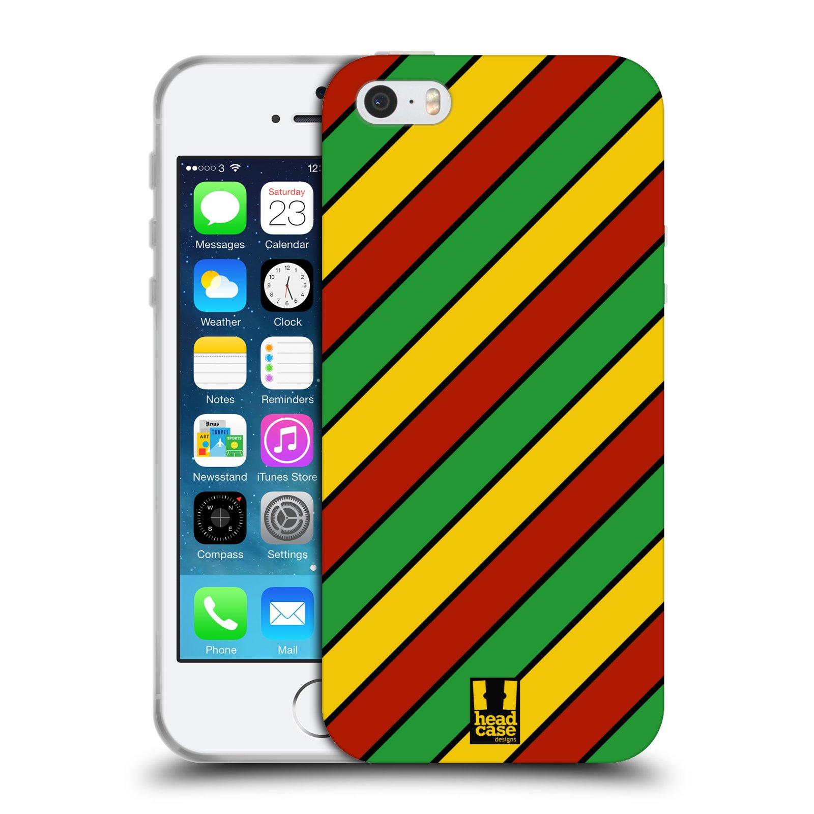 HEAD CASE silikonový obal na mobil Apple Iphone 5/5S vzor Rasta barevné vzory PRUHY