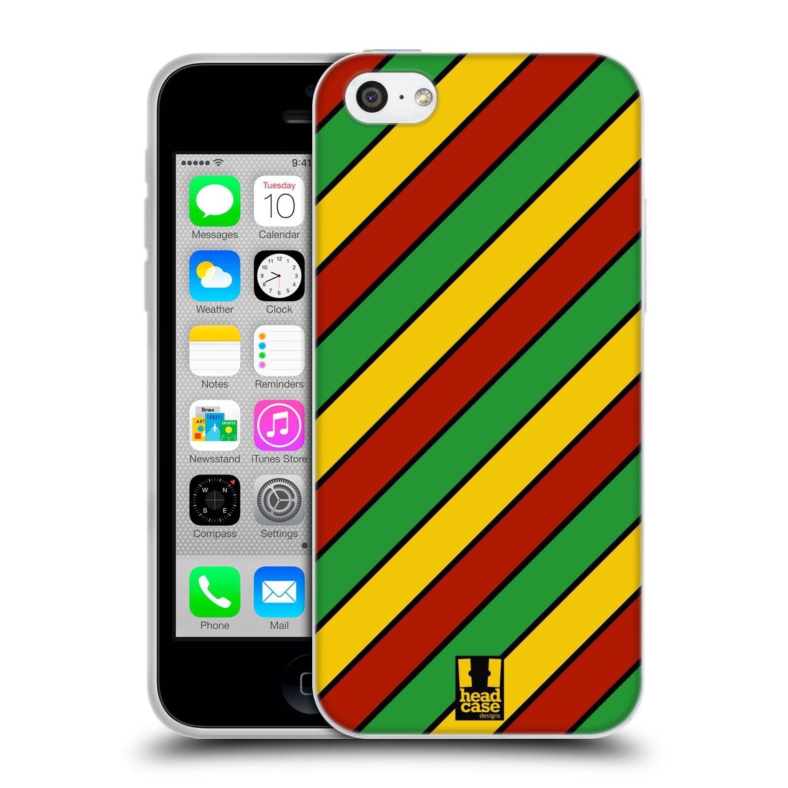 HEAD CASE silikonový obal na mobil Apple Iphone 5C vzor Rasta barevné vzory PRUHY