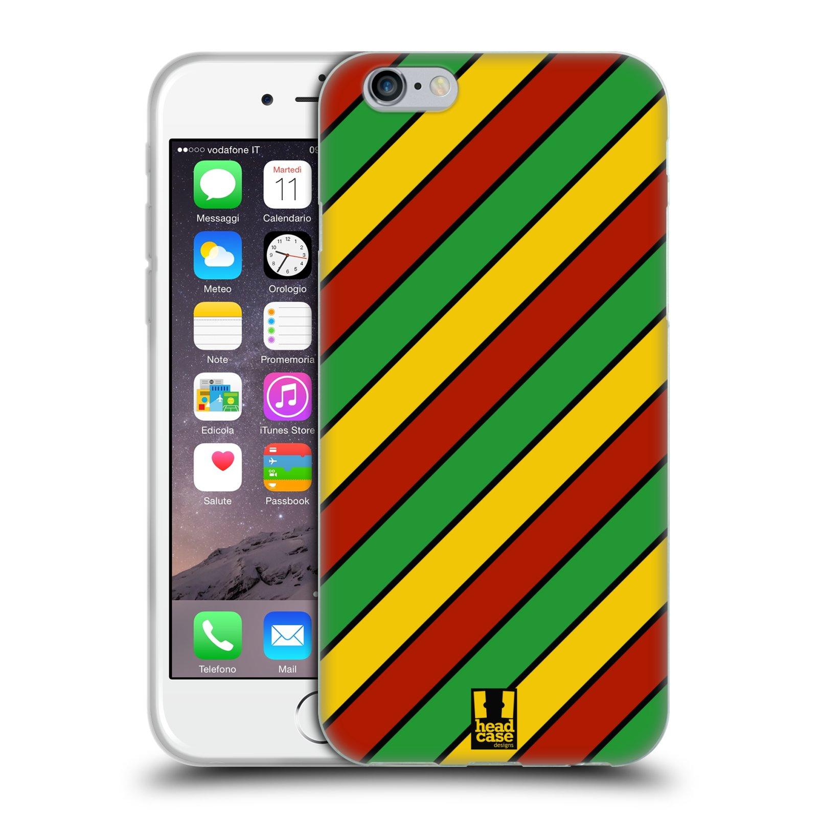 HEAD CASE silikonový obal na mobil Apple Iphone 6/6S vzor Rasta barevné vzory PRUHY