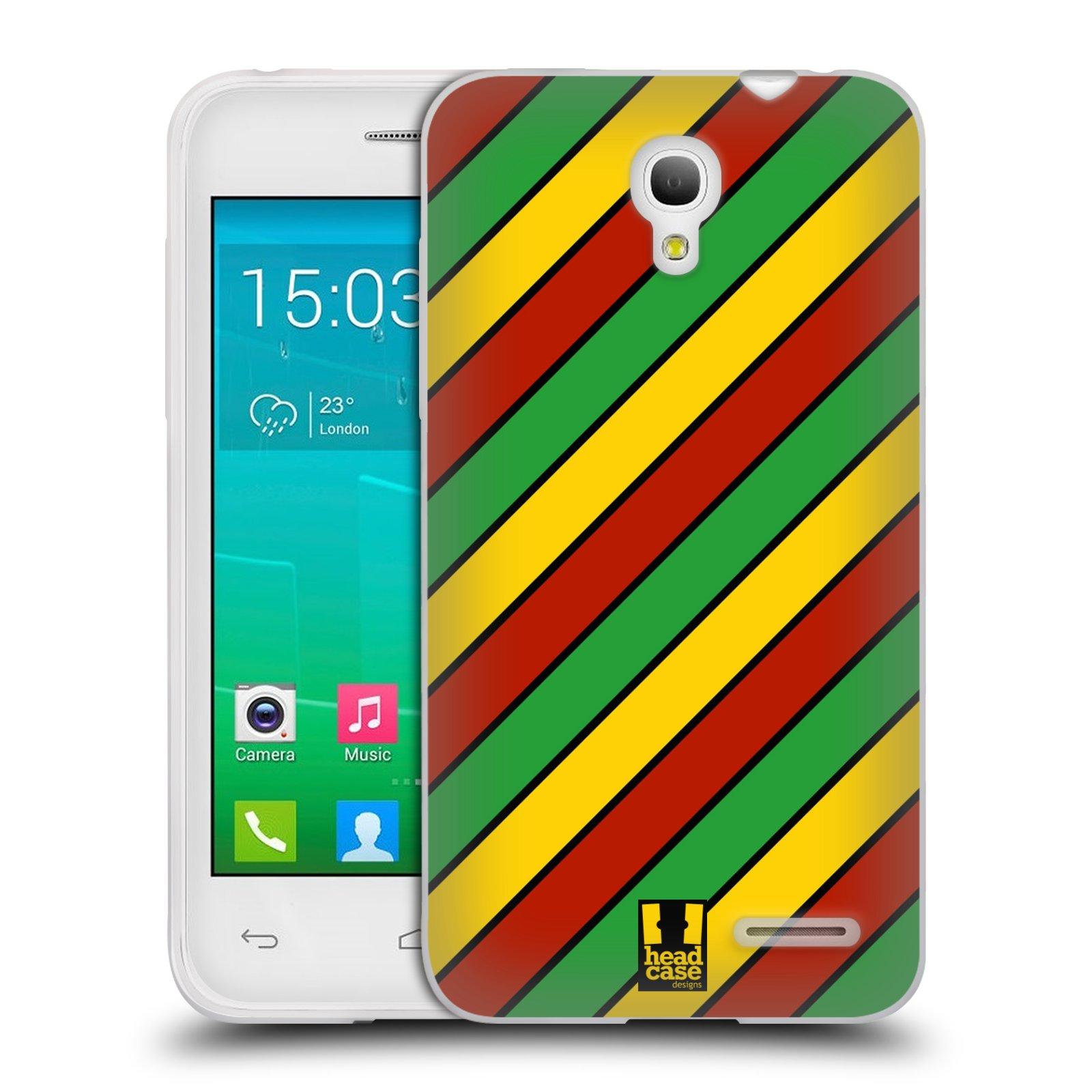HEAD CASE silikonový obal na mobil Alcatel POP S3 OT-5050Y vzor Rasta barevné vzory PRUHY