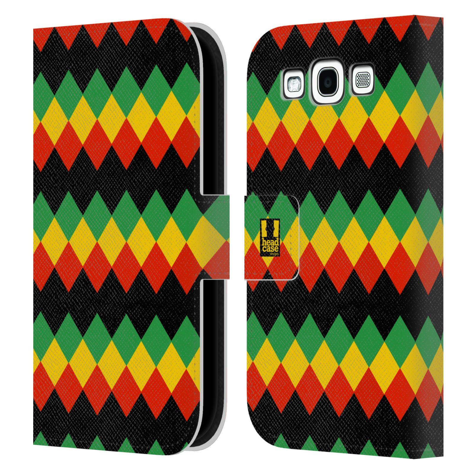 HEAD CASE Flipové pouzdro pro mobil Samsung Galaxy S3 Rastafariánský motiv Jamajka diamant