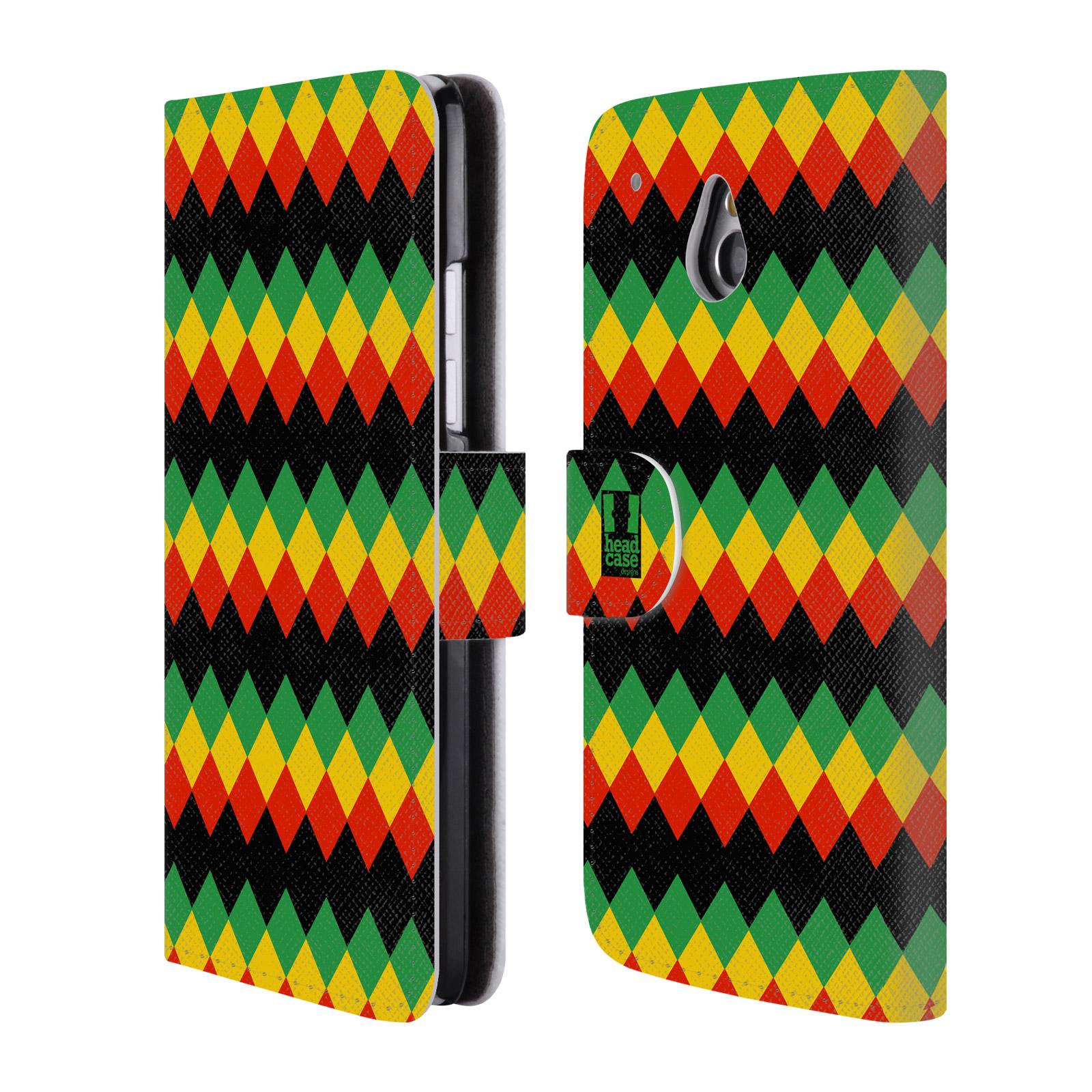 HEAD CASE Flipové pouzdro pro mobil HTC ONE MINI (M4) Rastafariánský motiv Jamajka diamant