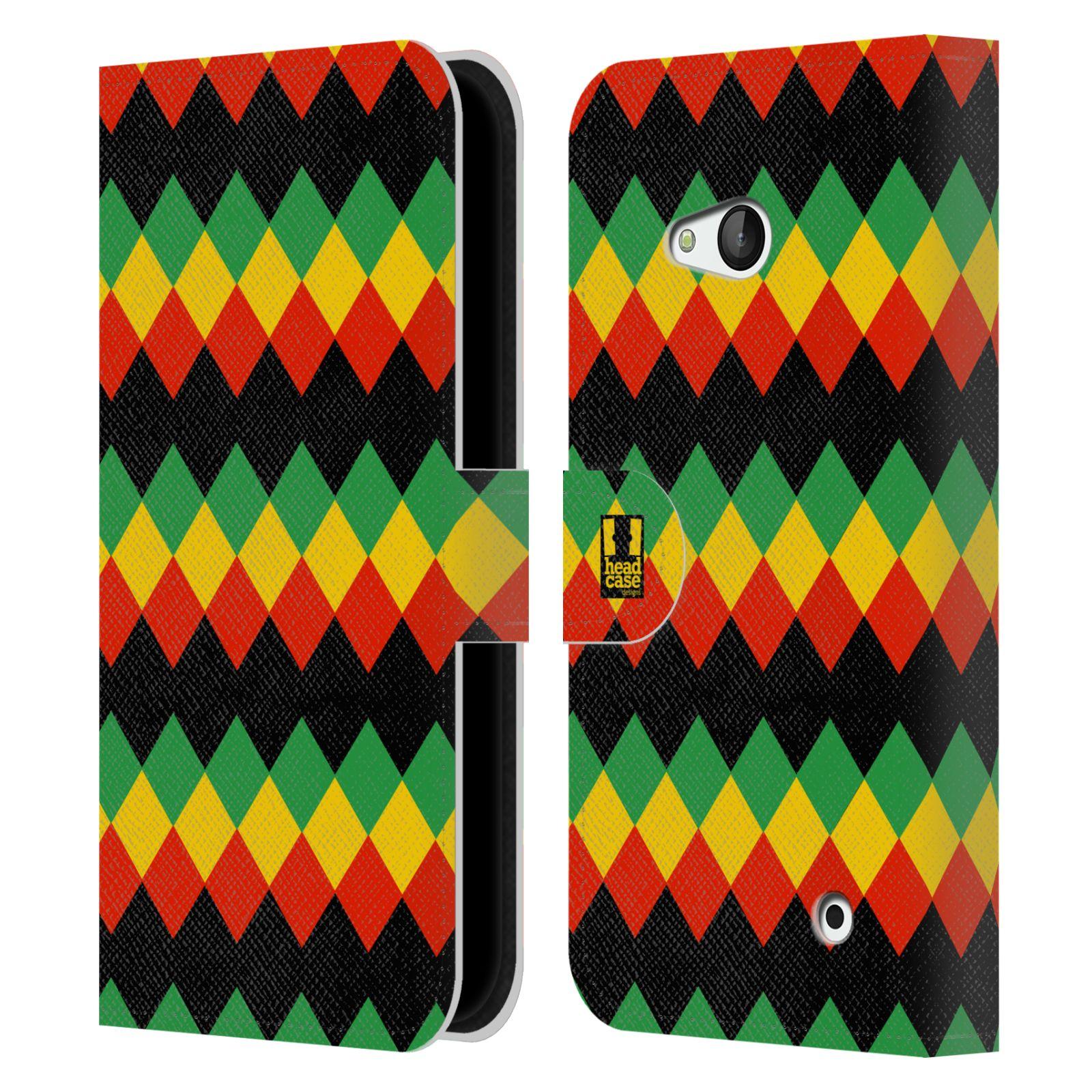 HEAD CASE Flipové pouzdro pro mobil NOKIA / MICROSOFT LUMIA 640 / LUMIA 640 DUAL Rastafariánský motiv Jamajka diamant