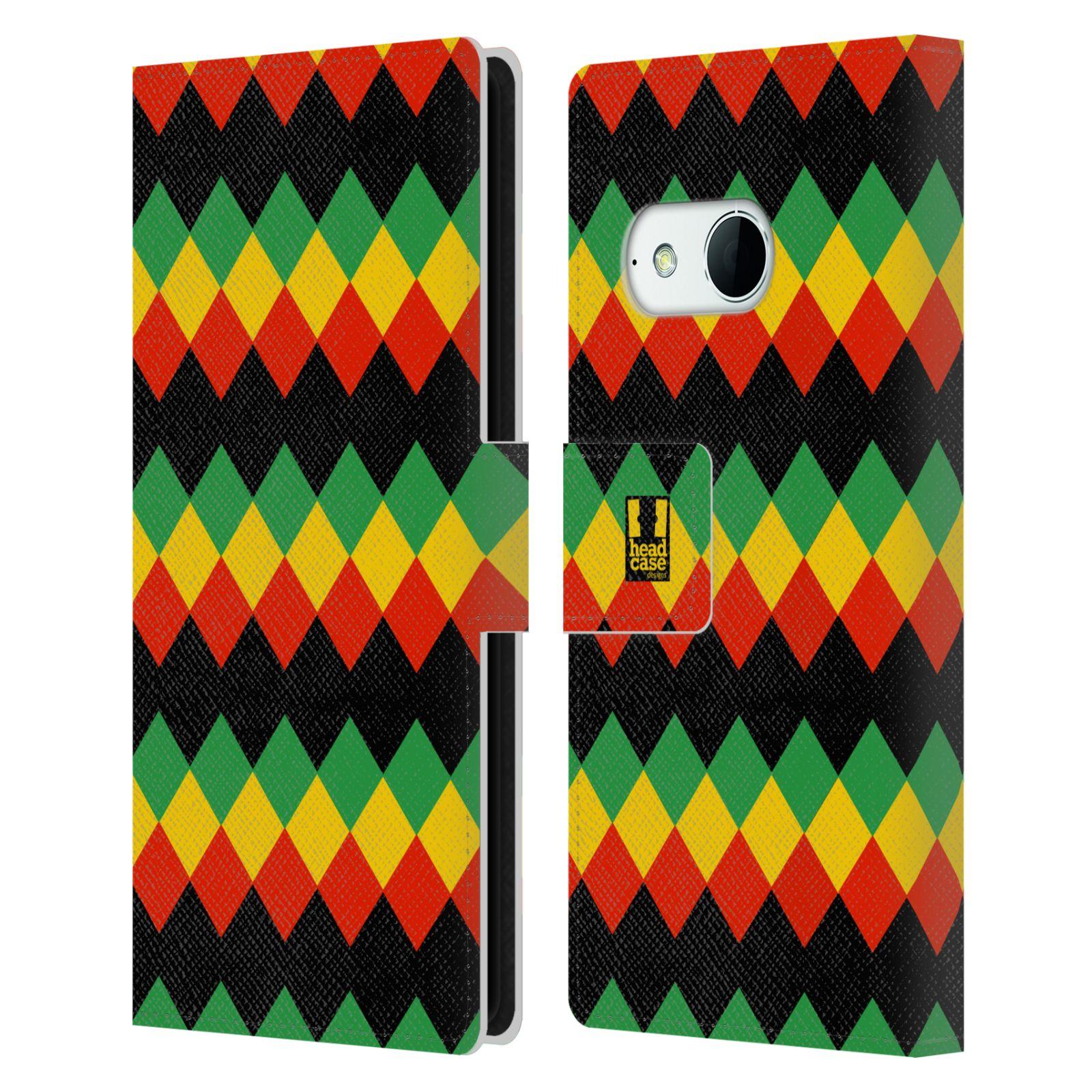 HEAD CASE Flipové pouzdro pro mobil HTC ONE MINI 2 (M8) Rastafariánský motiv Jamajka diamant