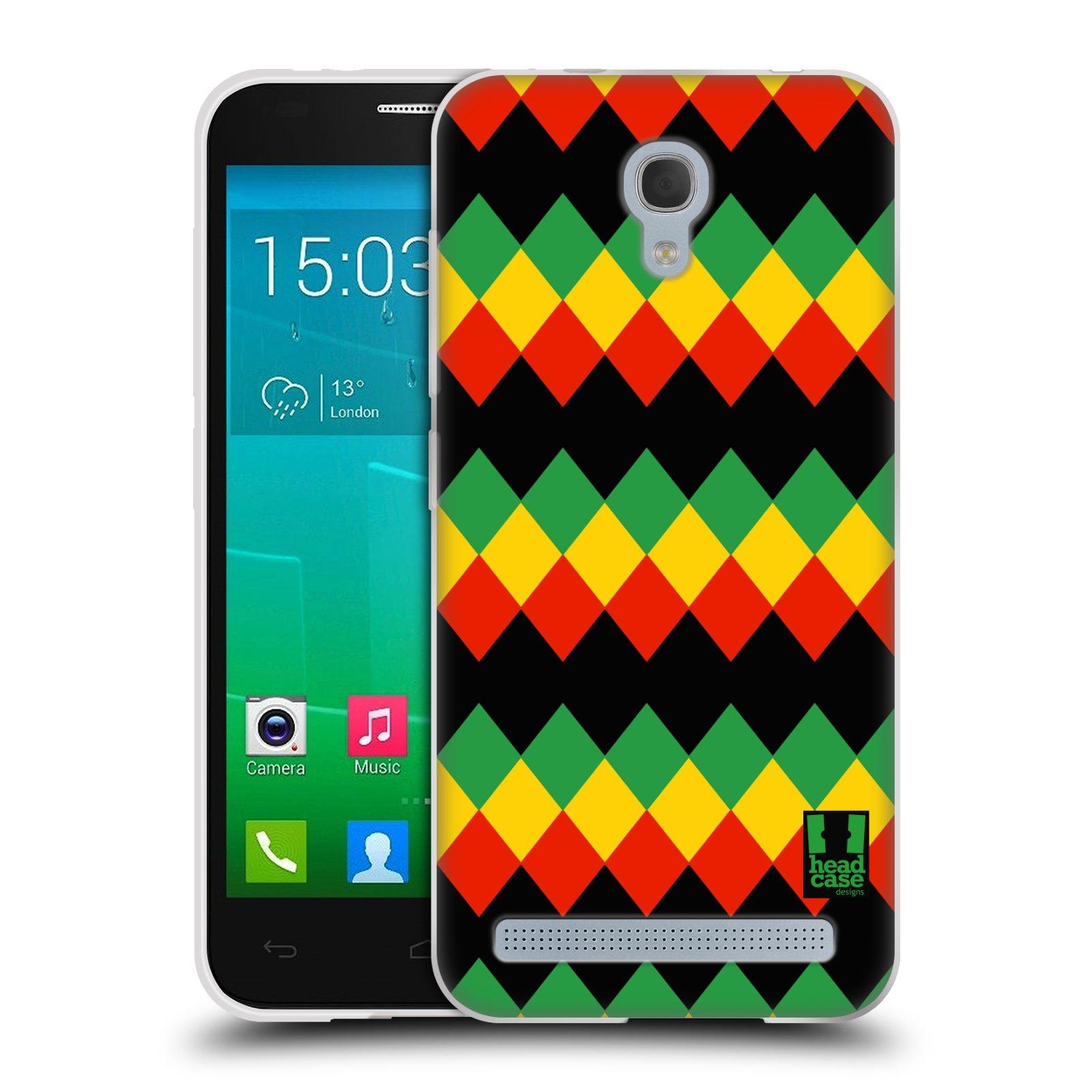 HEAD CASE silikonový obal na mobil Alcatel Idol 2 MINI S 6036Y vzor Rasta barevné vzory DIAMANT