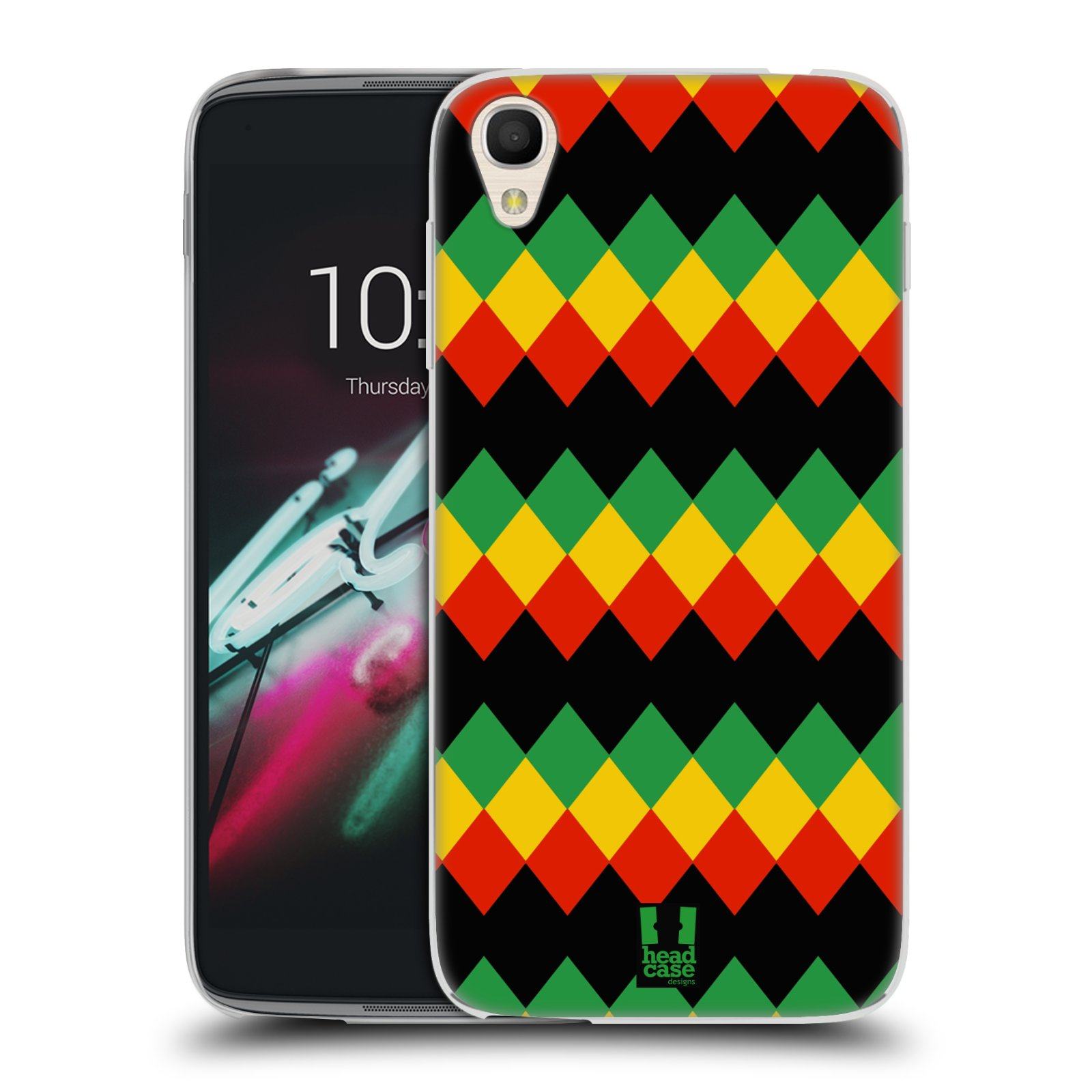 HEAD CASE silikonový obal na mobil Alcatel Idol 3 OT-6039Y (4.7) vzor Rasta barevné vzory DIAMANT