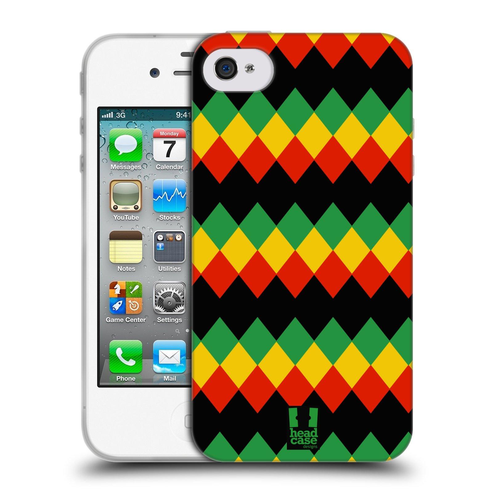 HEAD CASE silikonový obal na mobil Apple Iphone 4/4S vzor Rasta barevné vzory DIAMANT