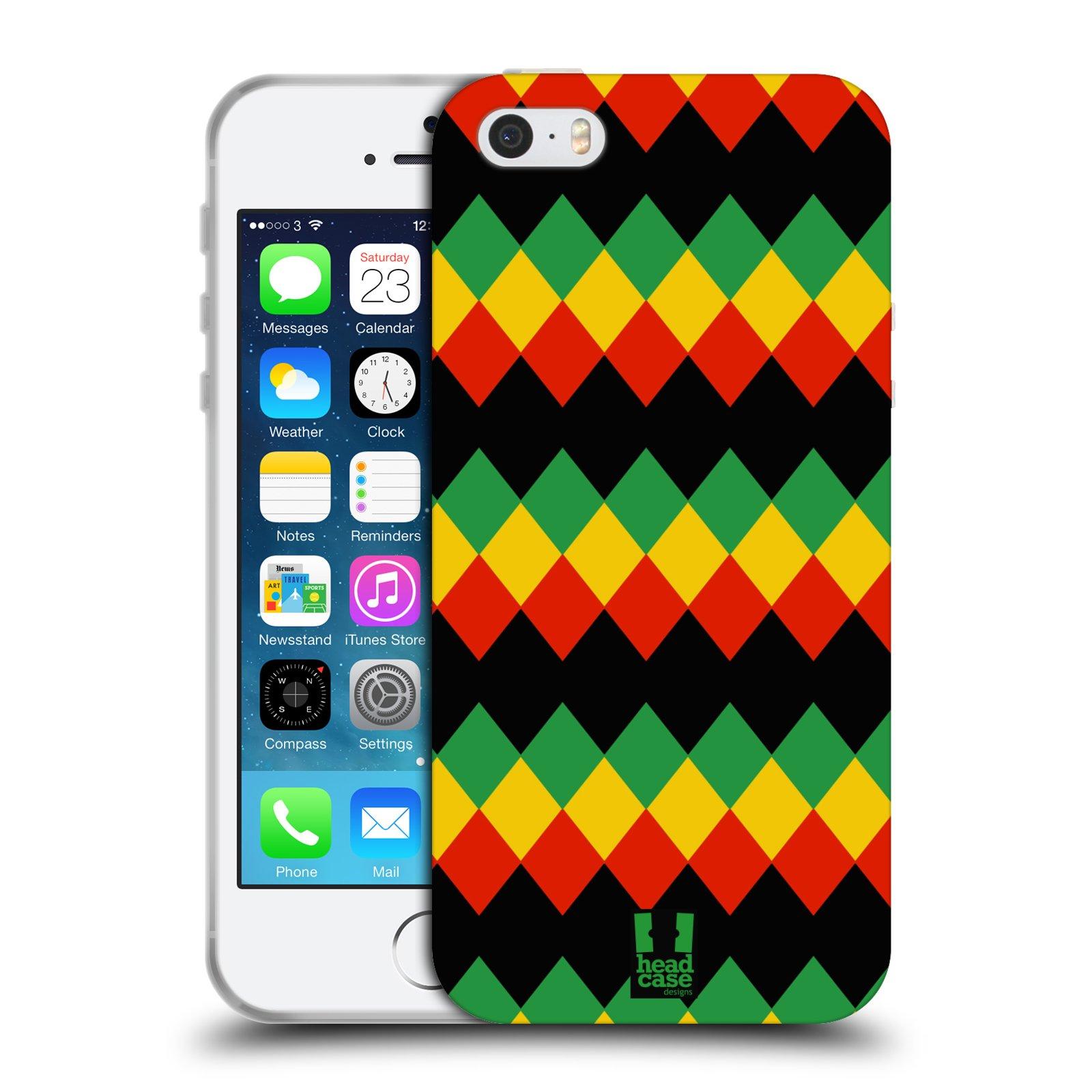 HEAD CASE silikonový obal na mobil Apple Iphone 5/5S vzor Rasta barevné vzory DIAMANT