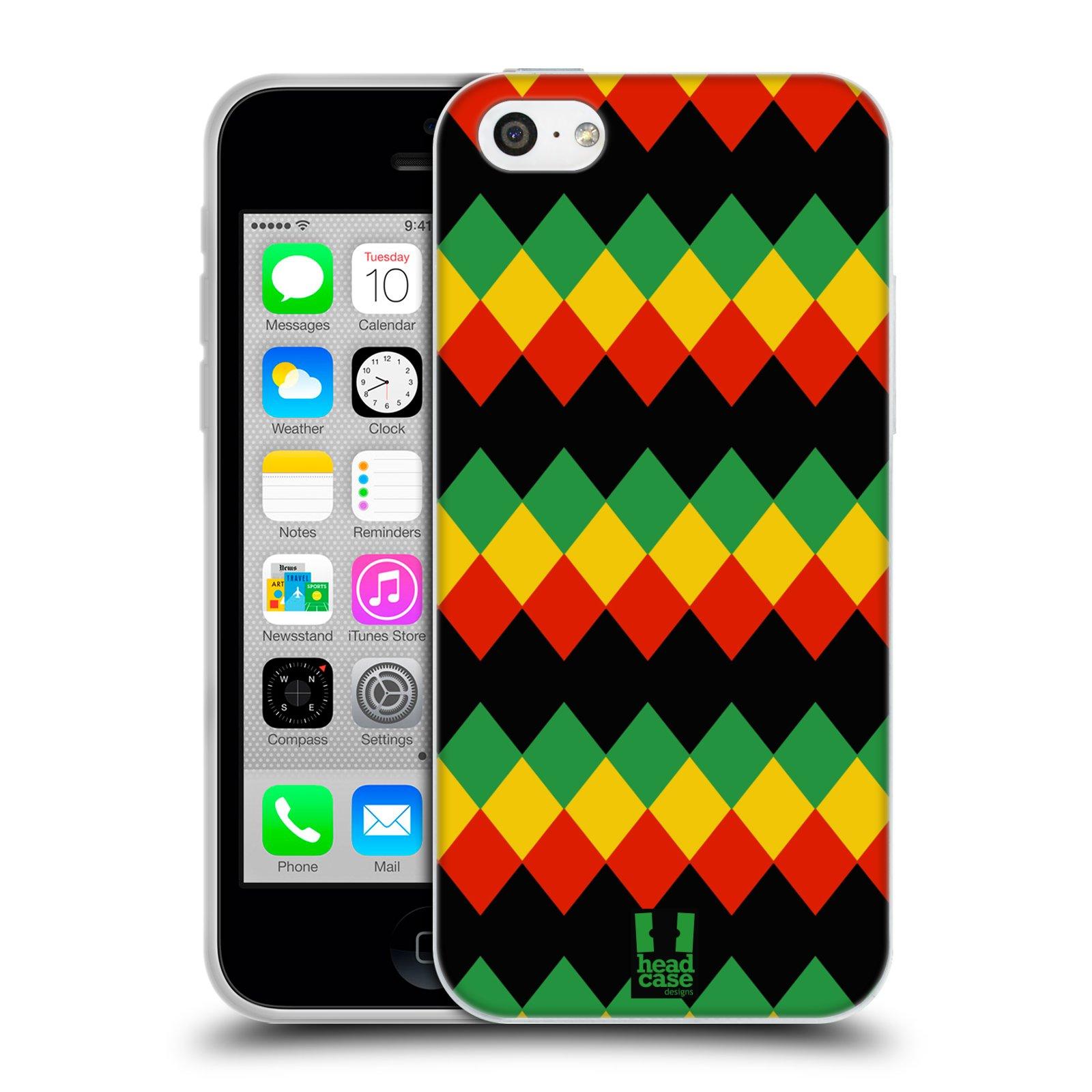 HEAD CASE silikonový obal na mobil Apple Iphone 5C vzor Rasta barevné vzory DIAMANT