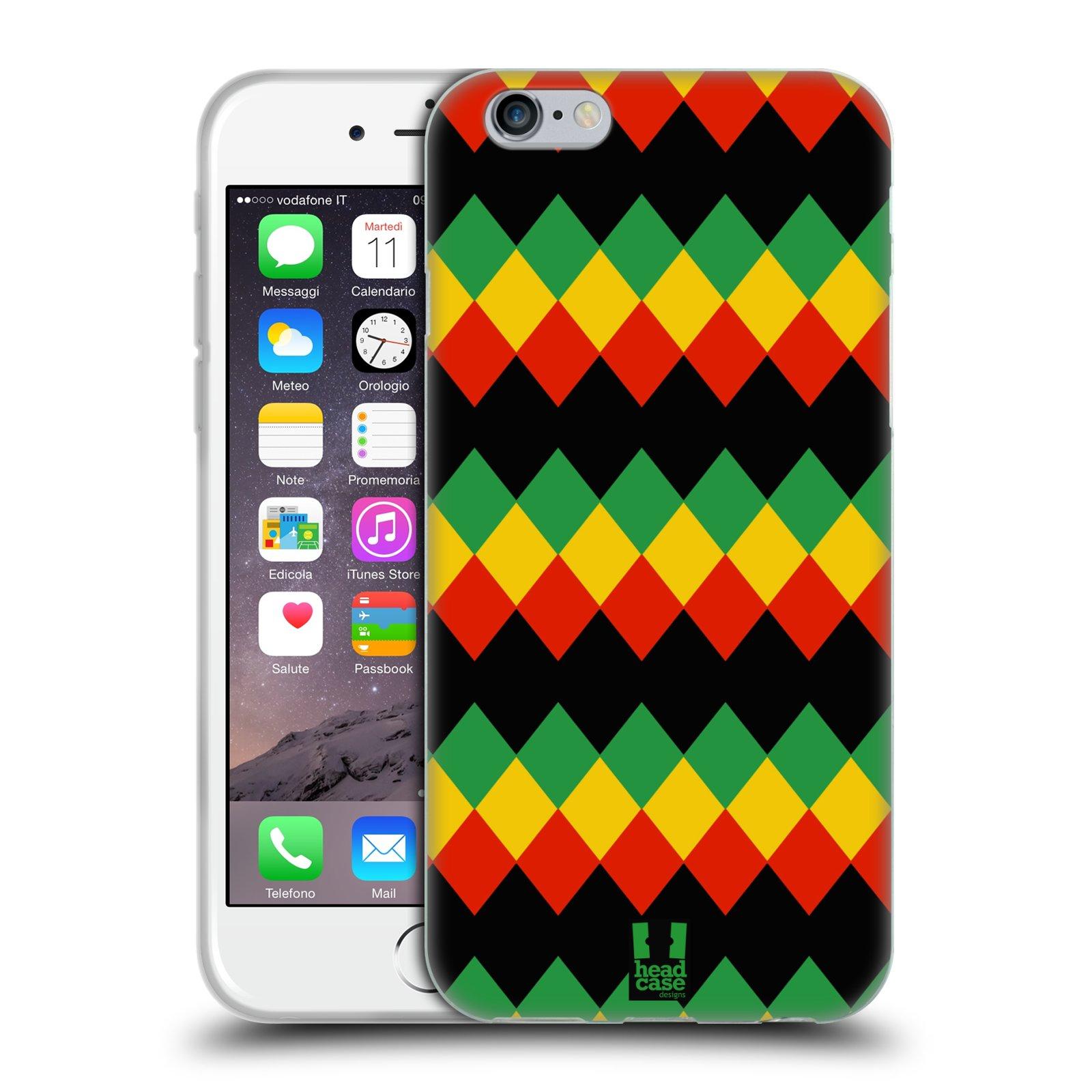 HEAD CASE silikonový obal na mobil Apple Iphone 6/6S vzor Rasta barevné vzory DIAMANT