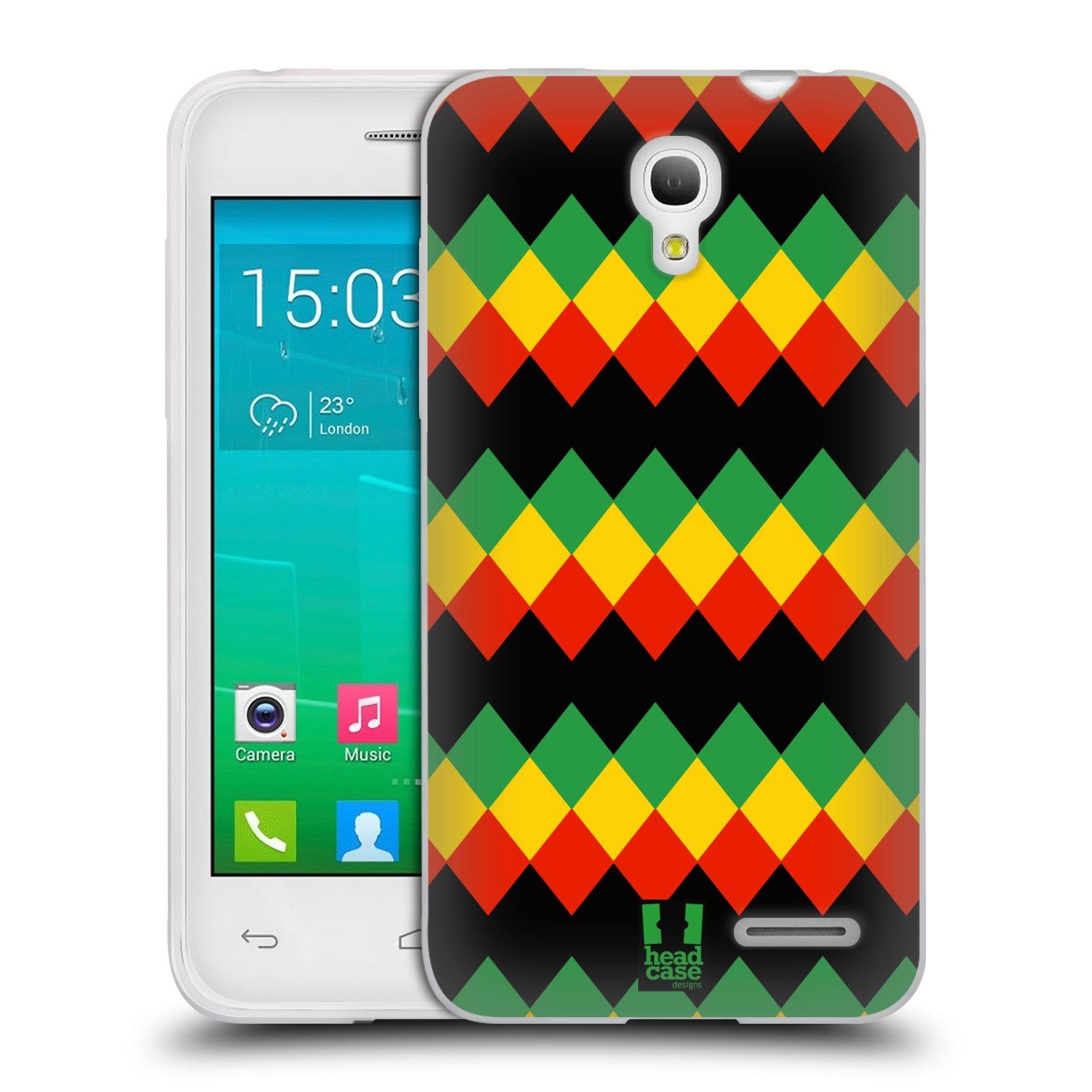 HEAD CASE silikonový obal na mobil Alcatel POP S3 OT-5050Y vzor Rasta barevné vzory DIAMANT
