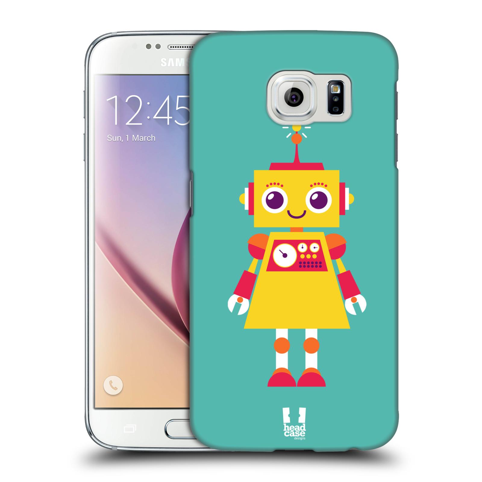 HEAD CASE plastový obal na mobil SAMSUNG Galaxy S6 (G9200, G920F) vzor Malí roboti TYRKYSOVÁ