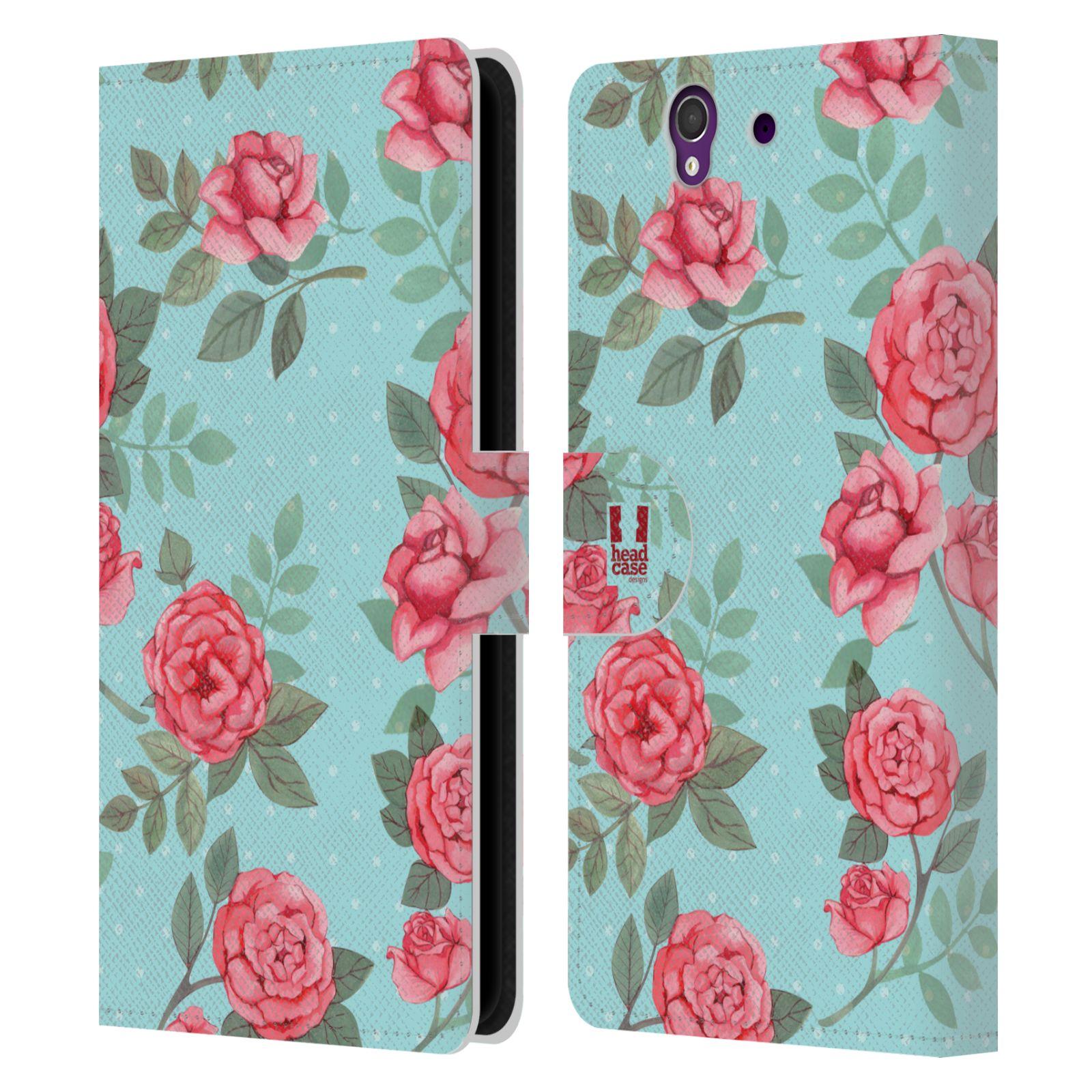 HEAD CASE Flipové pouzdro pro mobil SONY XPERIA Z (C6603) romantické květy velké růže modrá a růžová