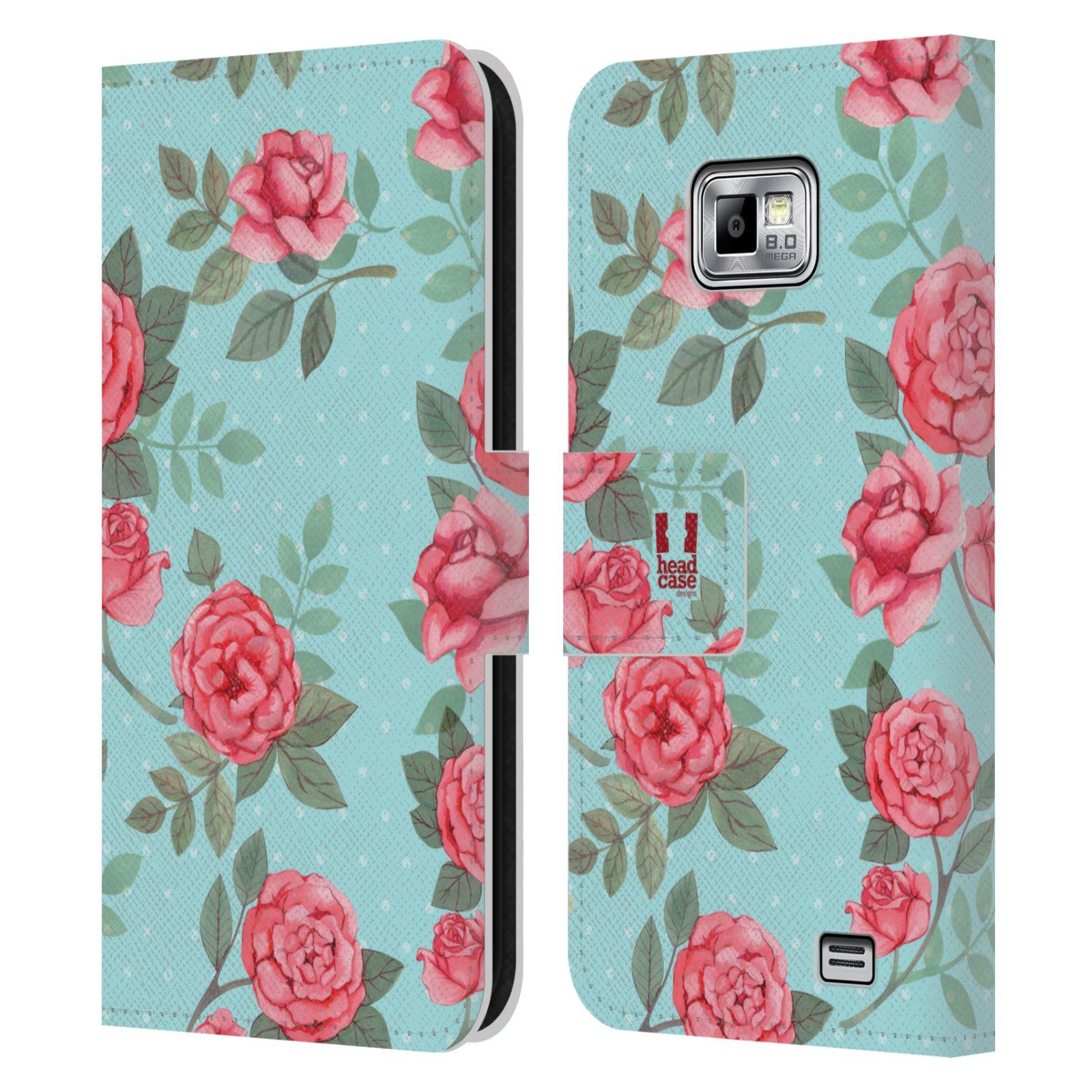 HEAD CASE Flipové pouzdro pro mobil Samsung Galaxy S2 i9100 romantické květy velké růže modrá a růžová