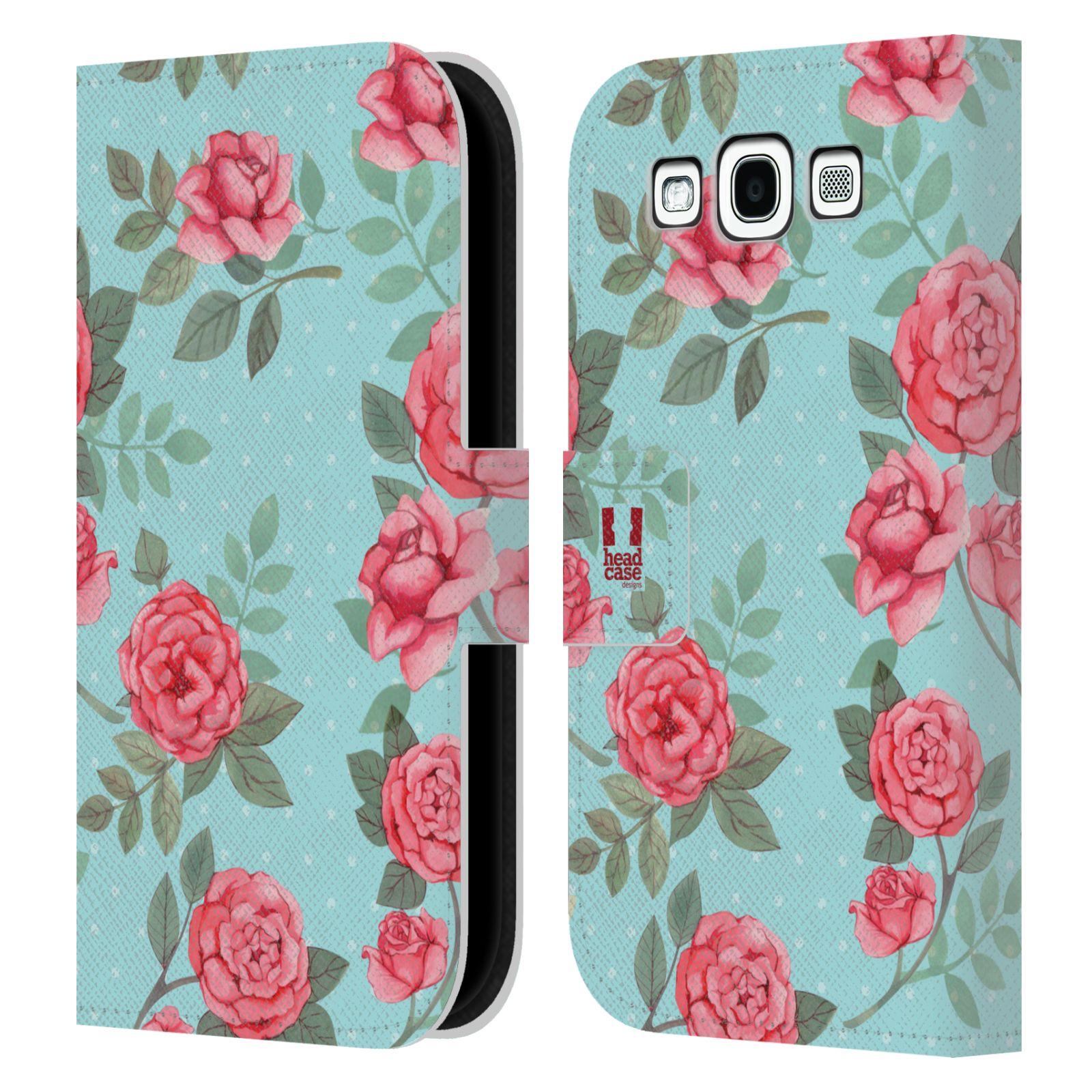 HEAD CASE Flipové pouzdro pro mobil Samsung Galaxy S3 romantické květy velké růže modrá a růžová