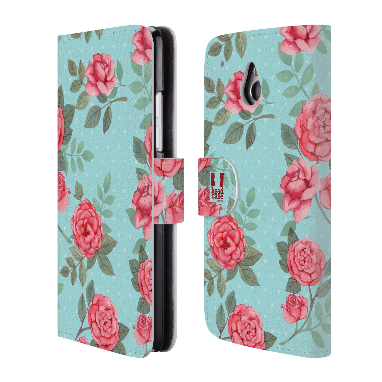 HEAD CASE Flipové pouzdro pro mobil HTC ONE MINI (M4) romantické květy velké růže modrá a růžová