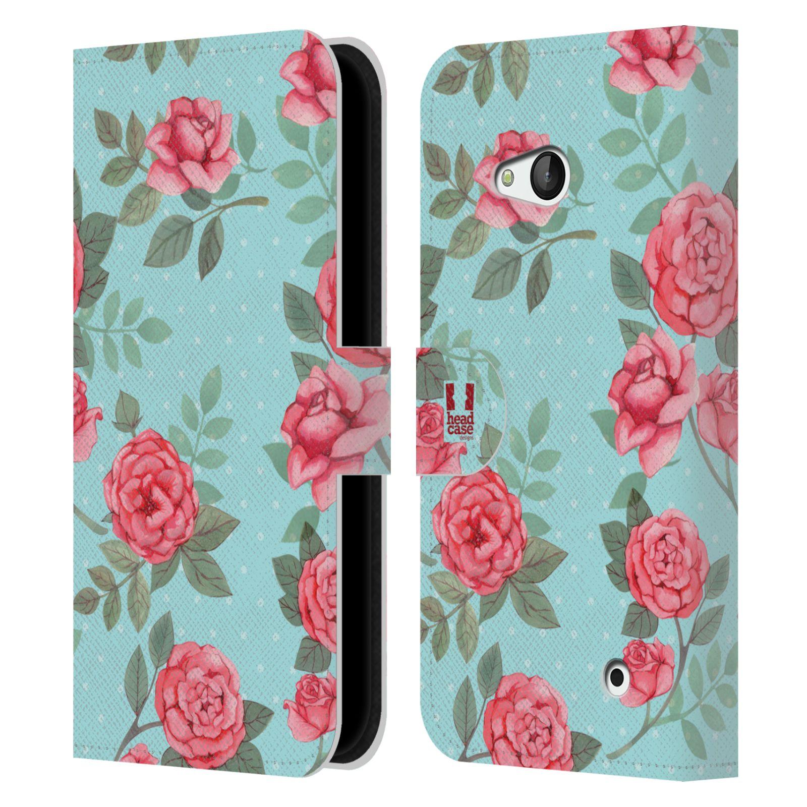 HEAD CASE Flipové pouzdro pro mobil NOKIA / MICROSOFT LUMIA 640 / LUMIA 640 DUAL romantické květy velké růže modrá a růžová
