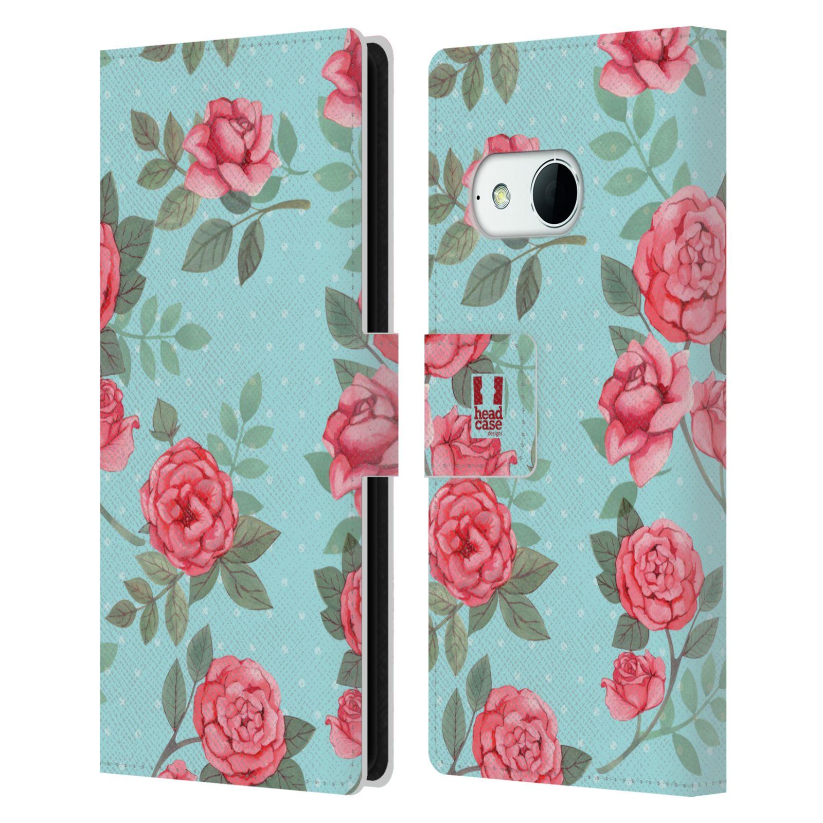 HEAD CASE Flipové pouzdro pro mobil HTC ONE MINI 2 (M8) romantické květy velké růže modrá a růžová