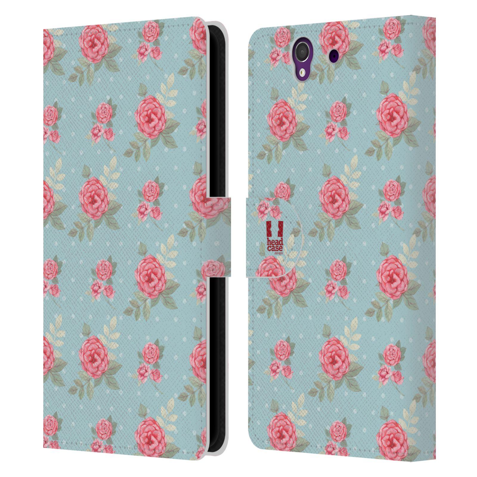 HEAD CASE Flipové pouzdro pro mobil SONY XPERIA Z (C6603) romantické květy anglické růže modrá a růžová